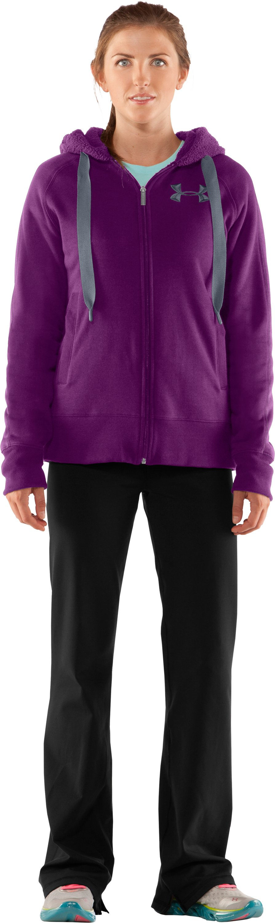 Women's Charged Cotton® Storm Sherpa Full Zip Hoodie, Cassis, Front