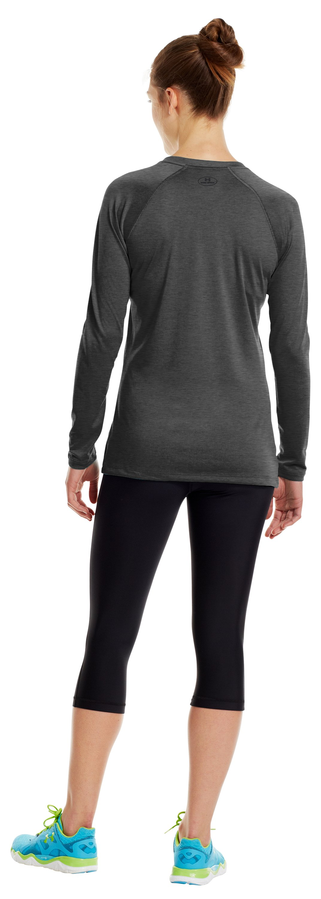 Women's UA Tech™ Long Sleeve, Carbon Heather, Back