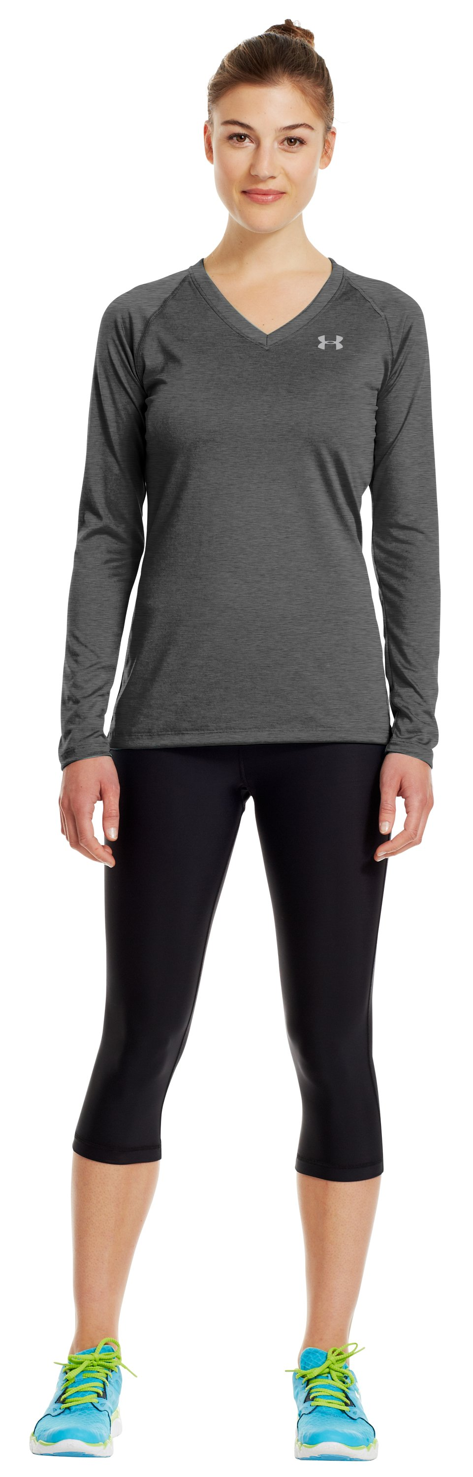 Women's UA Tech™ Long Sleeve, Carbon Heather, Front