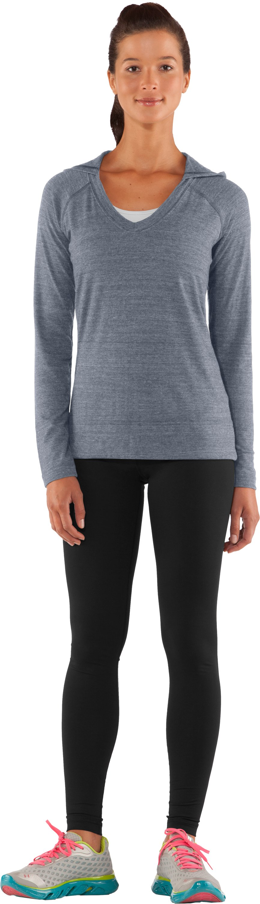 Women's UA Victory Hooded Long Sleeve, Steel, zoomed image