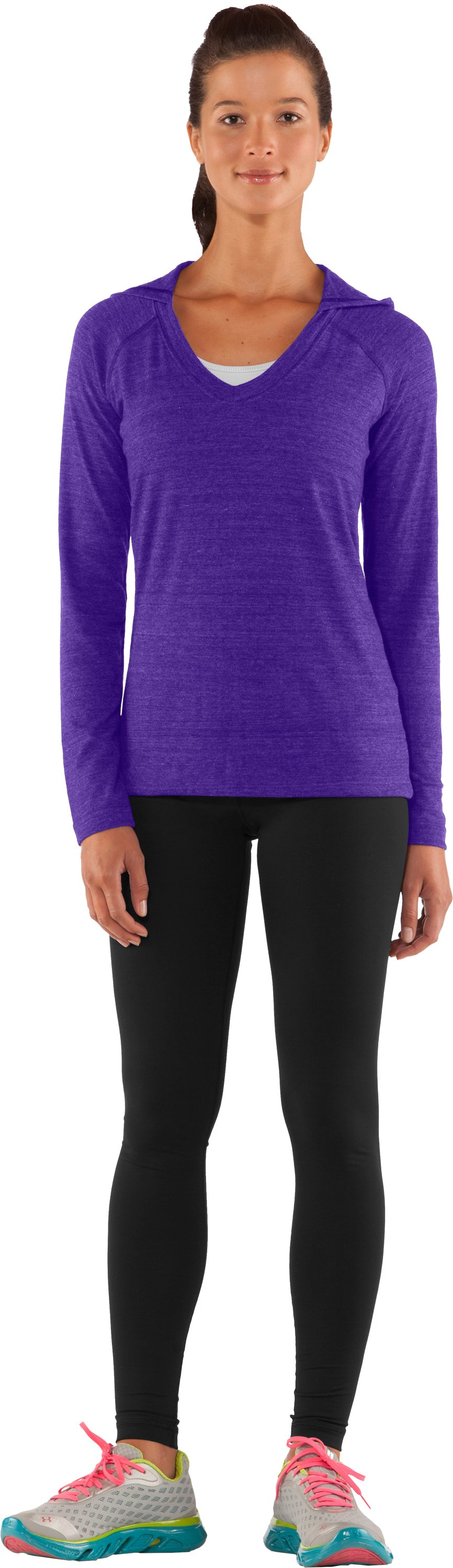 Women's UA Victory Hooded Long Sleeve, Pluto, Front