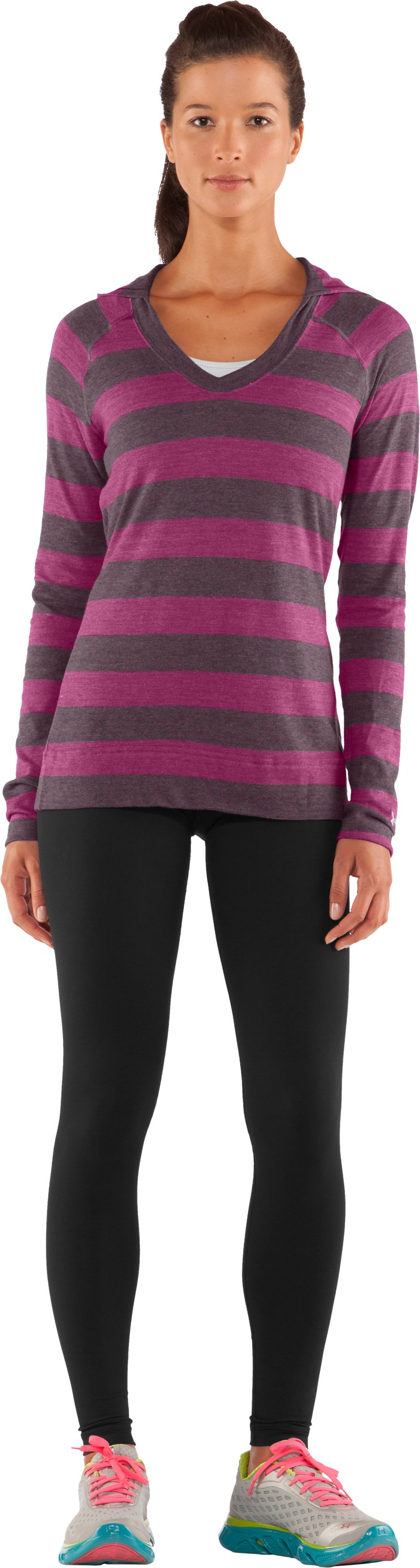 Women's UA Victory Hooded Long Sleeve, Rosewood, Front