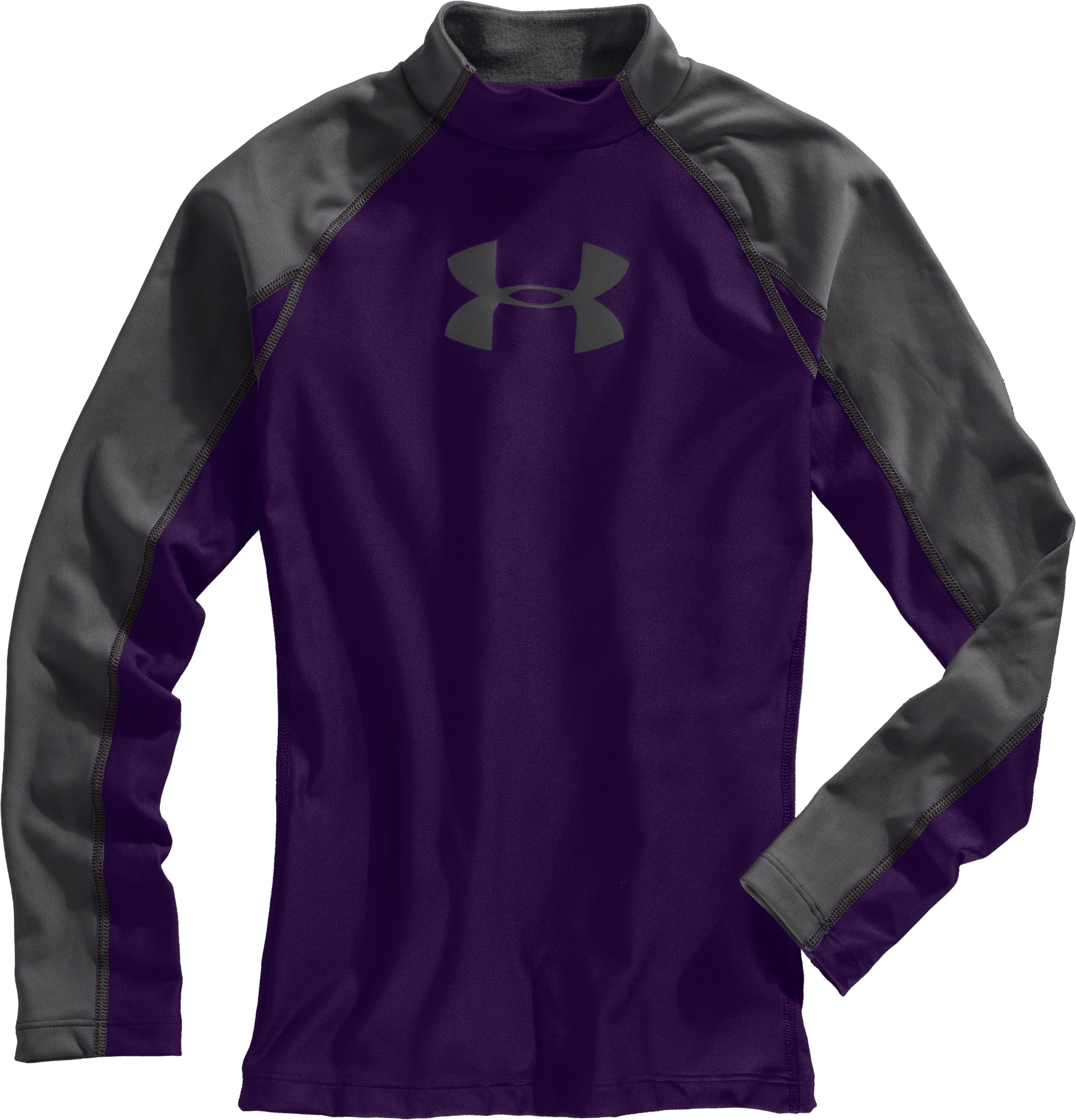 Boys' UA Competition Fitted Baselayer Mock, Purple, Laydown