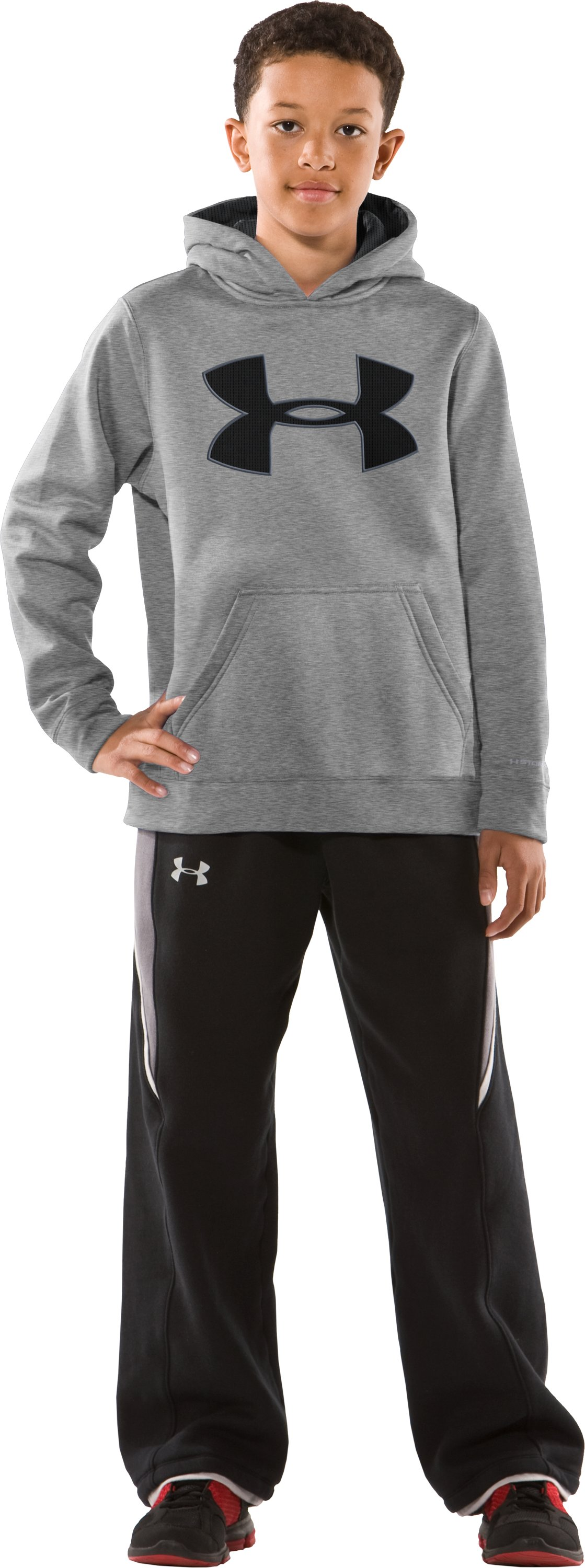 Boys' Armour® Fleece Storm Big Logo Pullover Hoodie, True Gray Heather, zoomed image