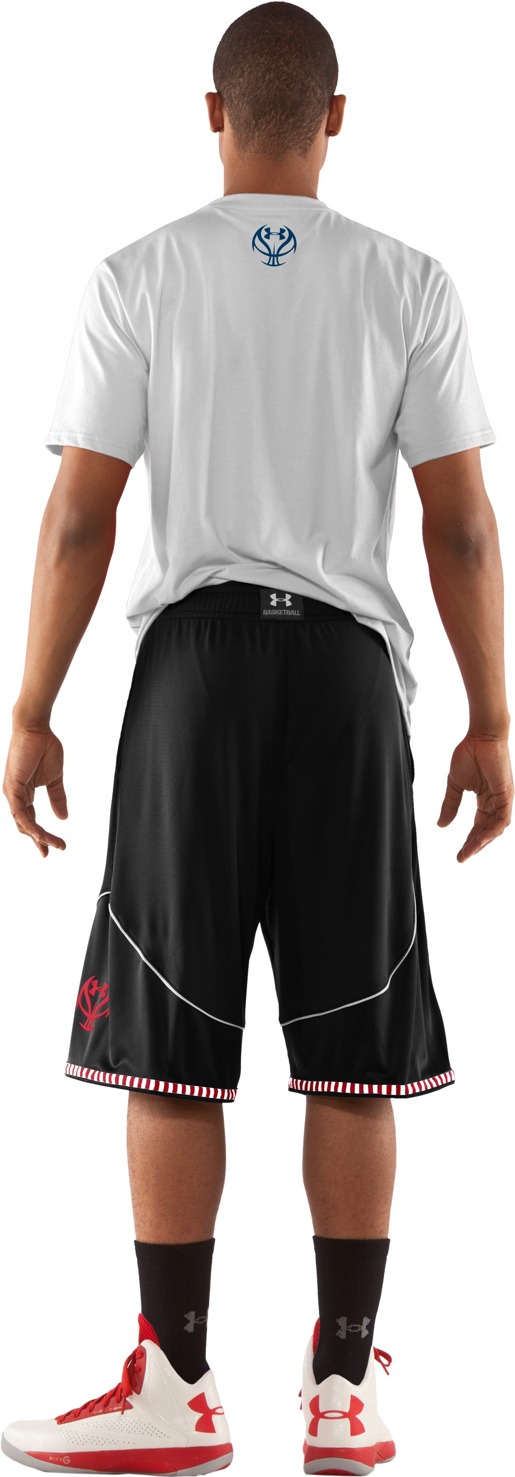 "Men's UA Rucker 12"" Basketball Shorts, Black , Back"