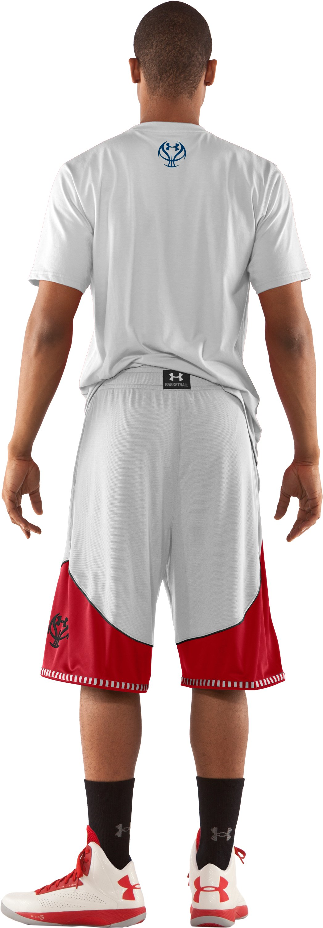 "Men's UA Rucker 12"" Basketball Shorts, White, Back"