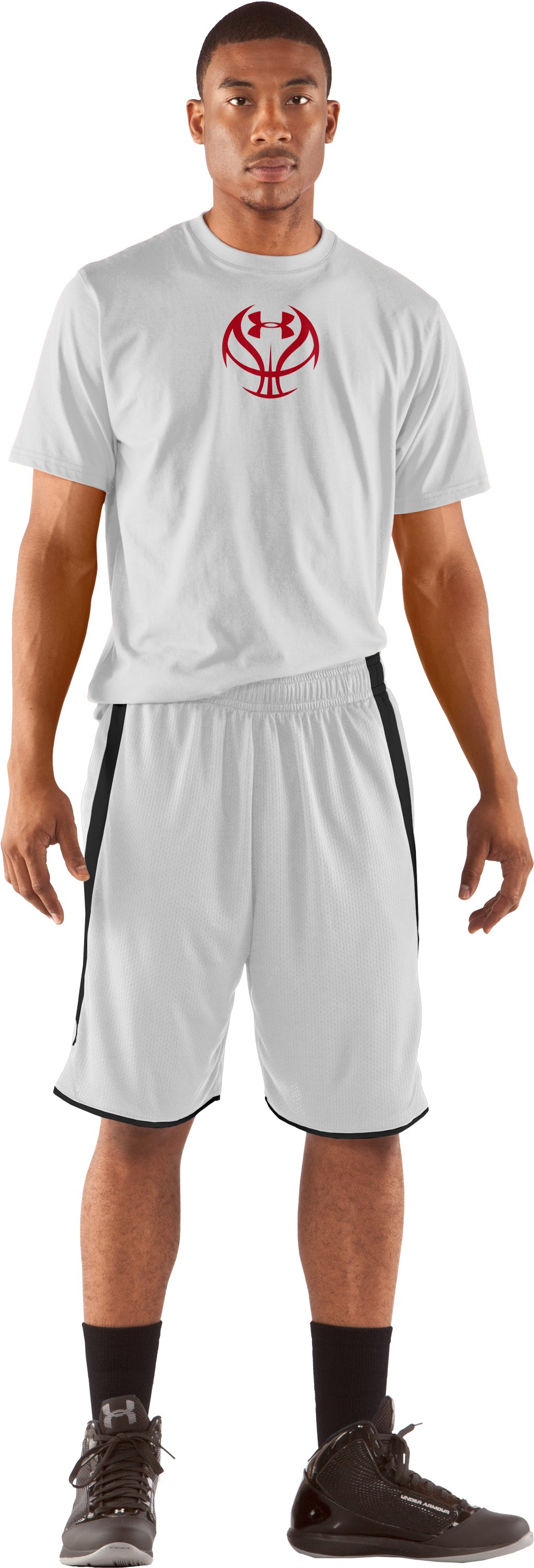 "Men's UA Finger Roll 10"" Basketball Shorts, White, Front"