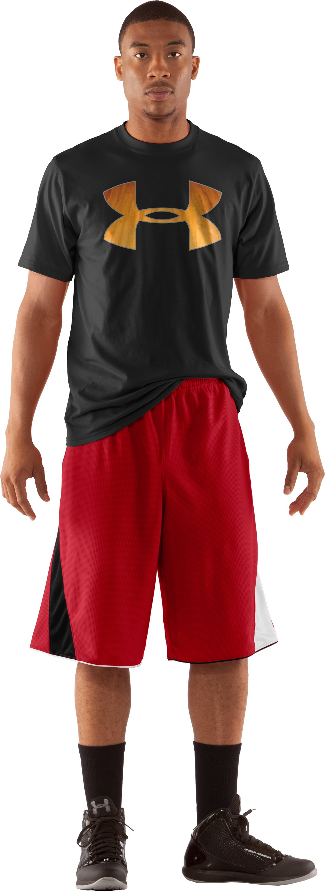 "Men's UA Bread Winner 12"" Basketball Shorts, Red, Front"
