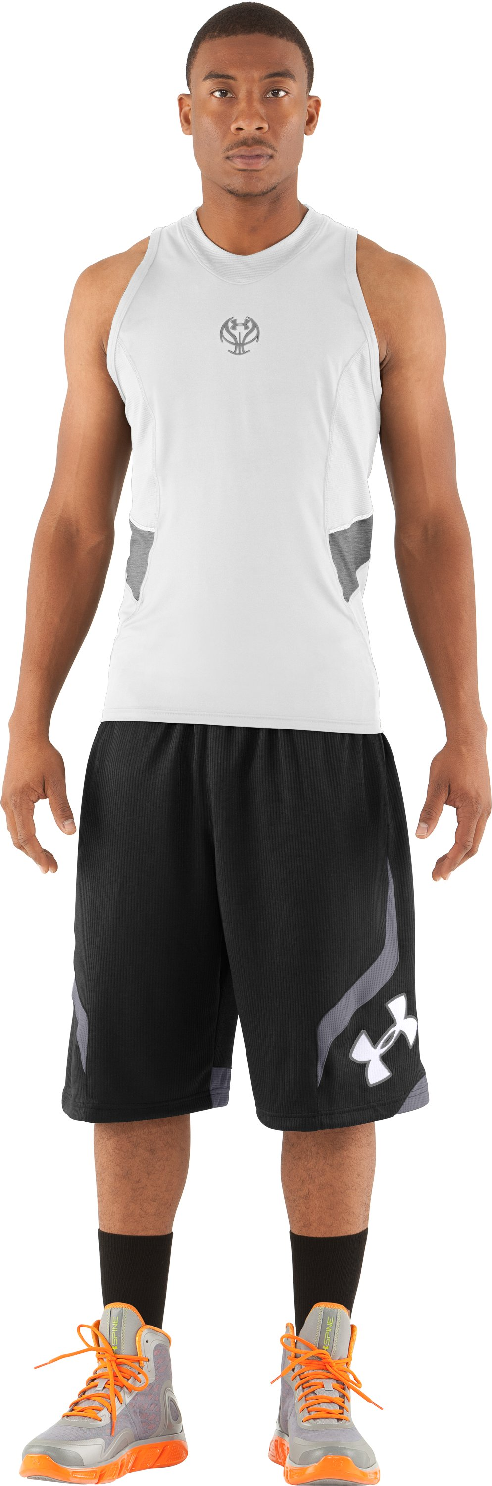 Men's UA Blur II Fitted Tank, White, zoomed image