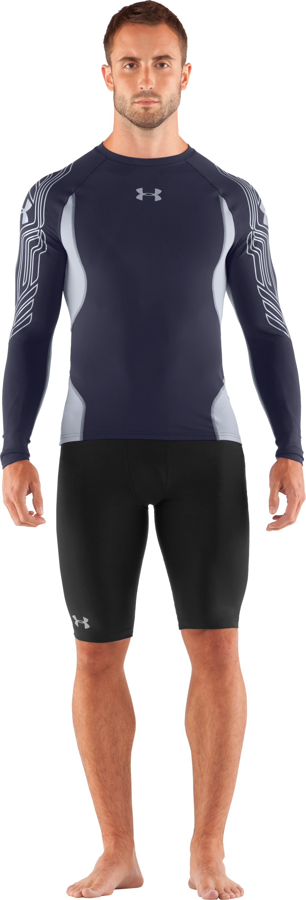 Men's UA Hockey Compression Long Sleeve, Midnight Navy, zoomed image
