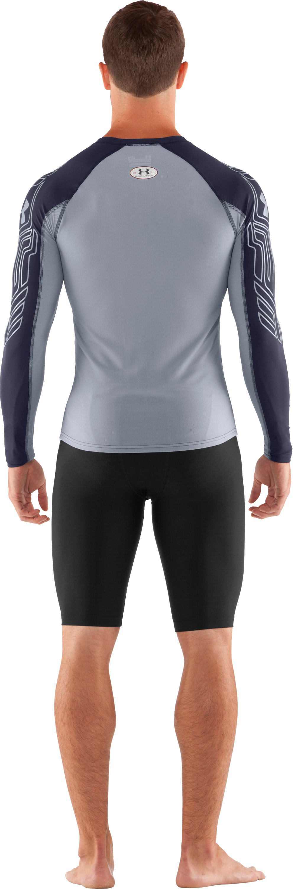 Men's UA Hockey Compression Long Sleeve, Midnight Navy, Front