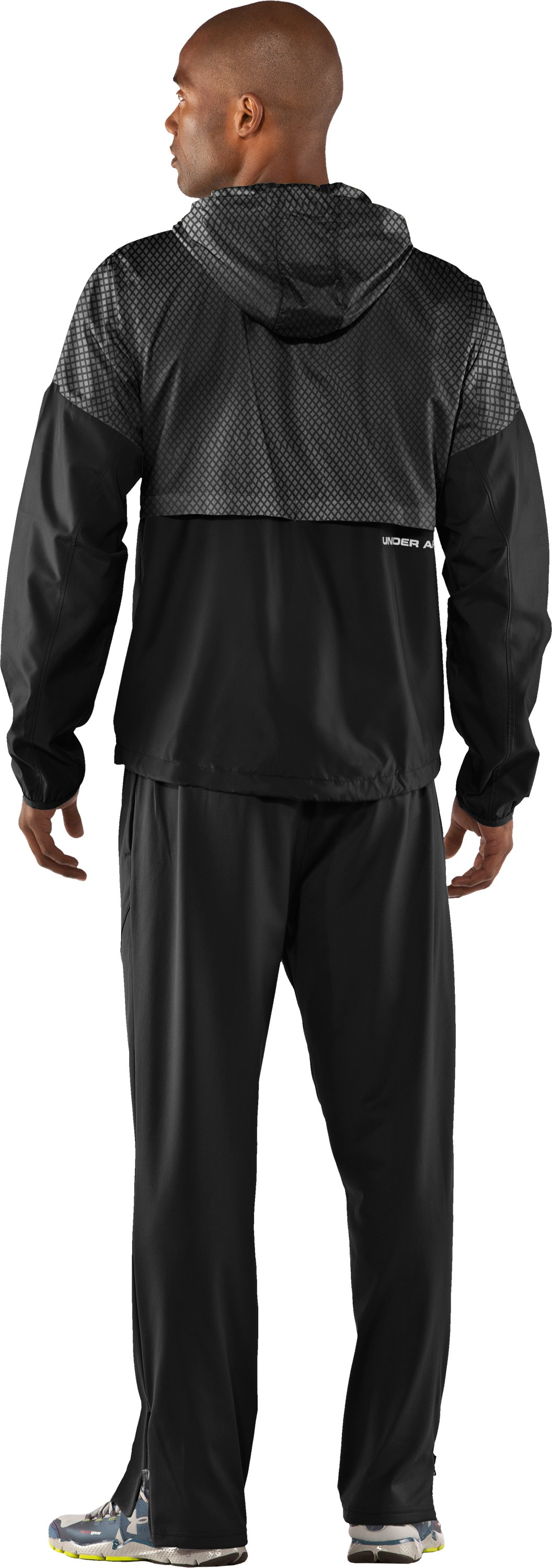 Men's UA Run Storm Hooded Jacket, Black , Back