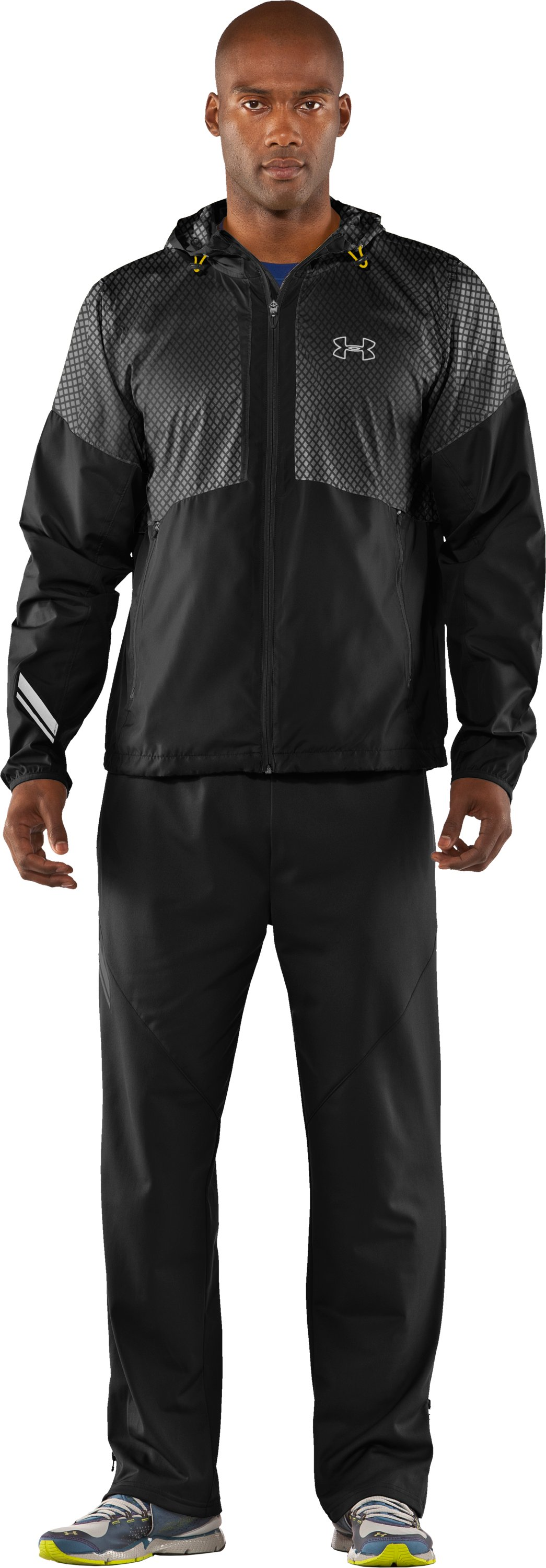 Men's UA Run Storm Hooded Jacket, Black , zoomed image