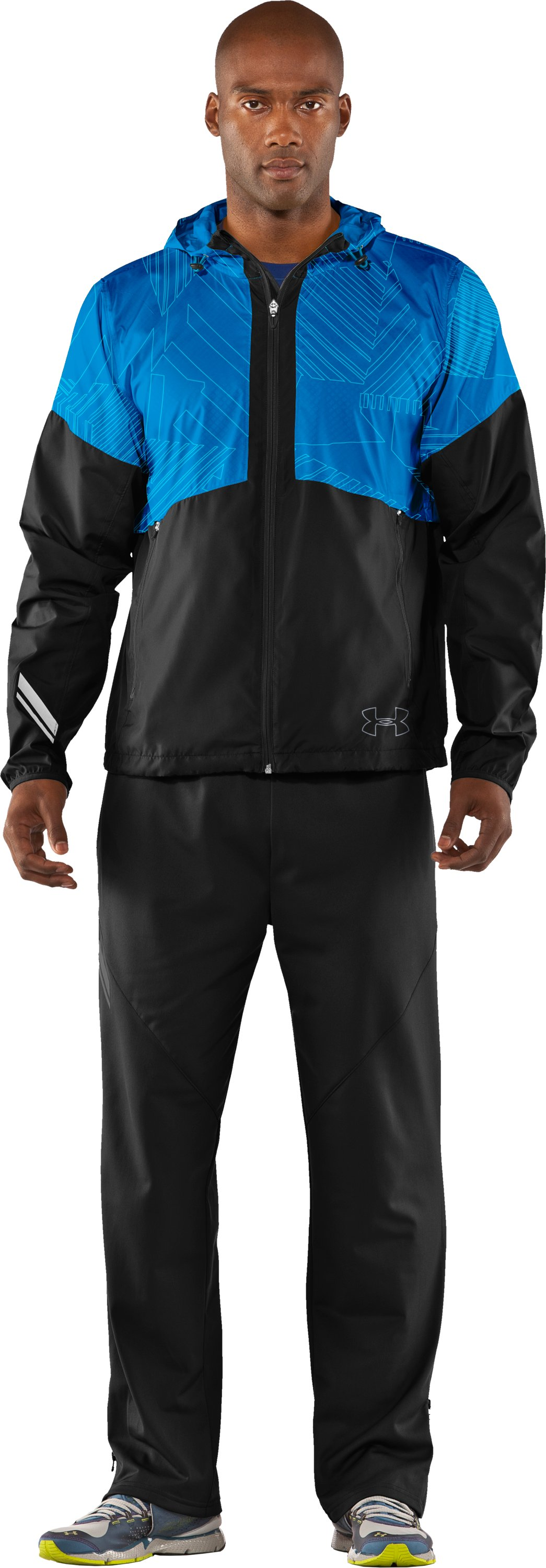 Men's UA Run Storm Hooded Jacket, Black , Front