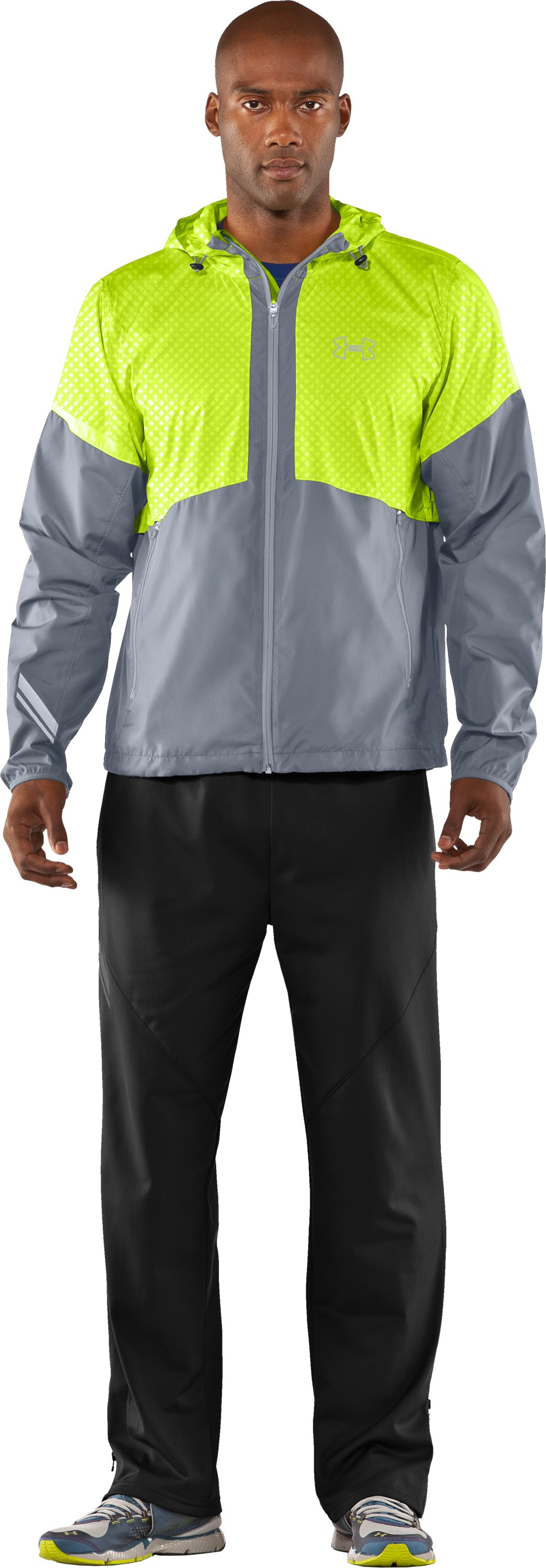 Men's UA Run Storm Hooded Jacket, Steel, Front