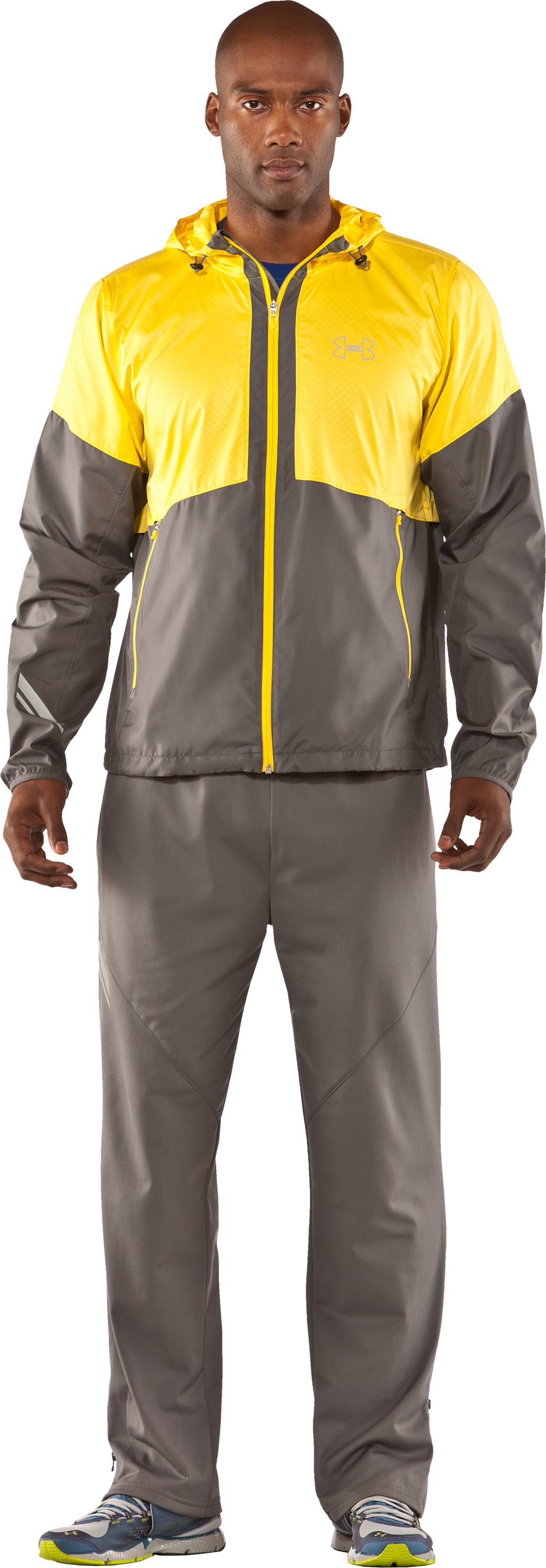 Men's UA Run Storm Hooded Jacket, Graphite, Front