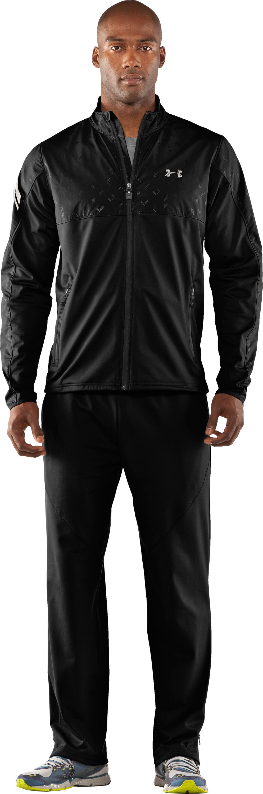 Men's UA Catalyst Run Retrack Jacket, Black , Front