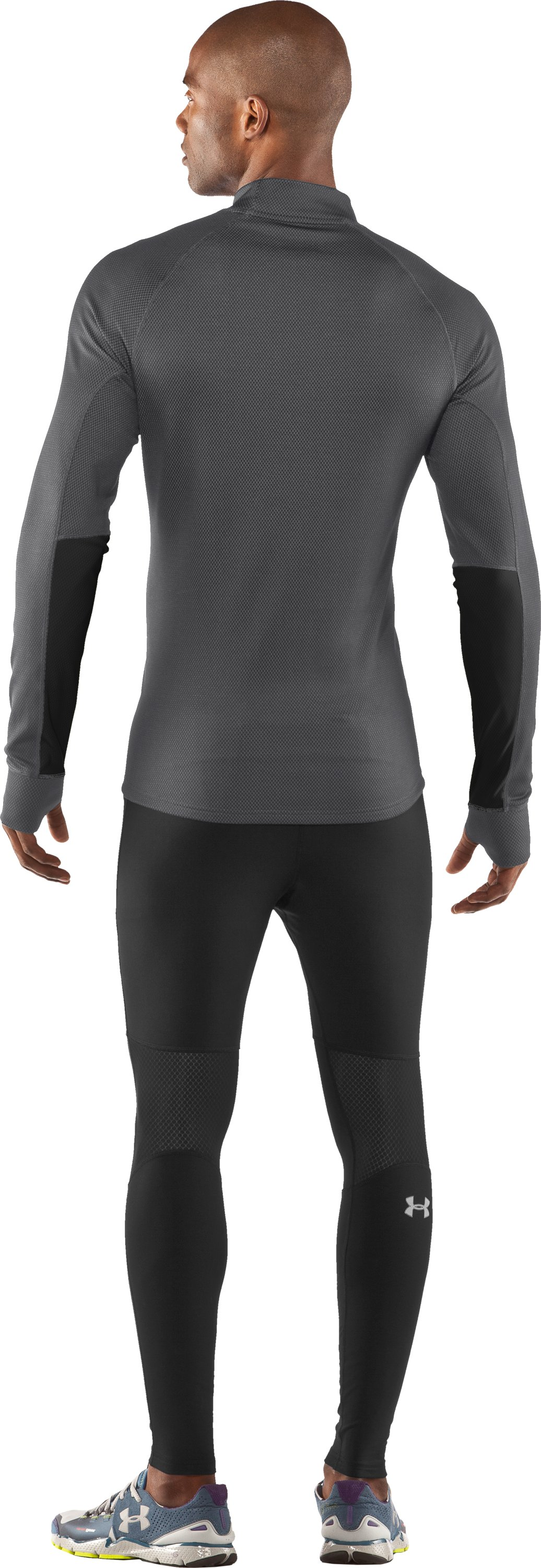 Men's ColdGear® Thermo Run ½ Zip, Graphite, Back