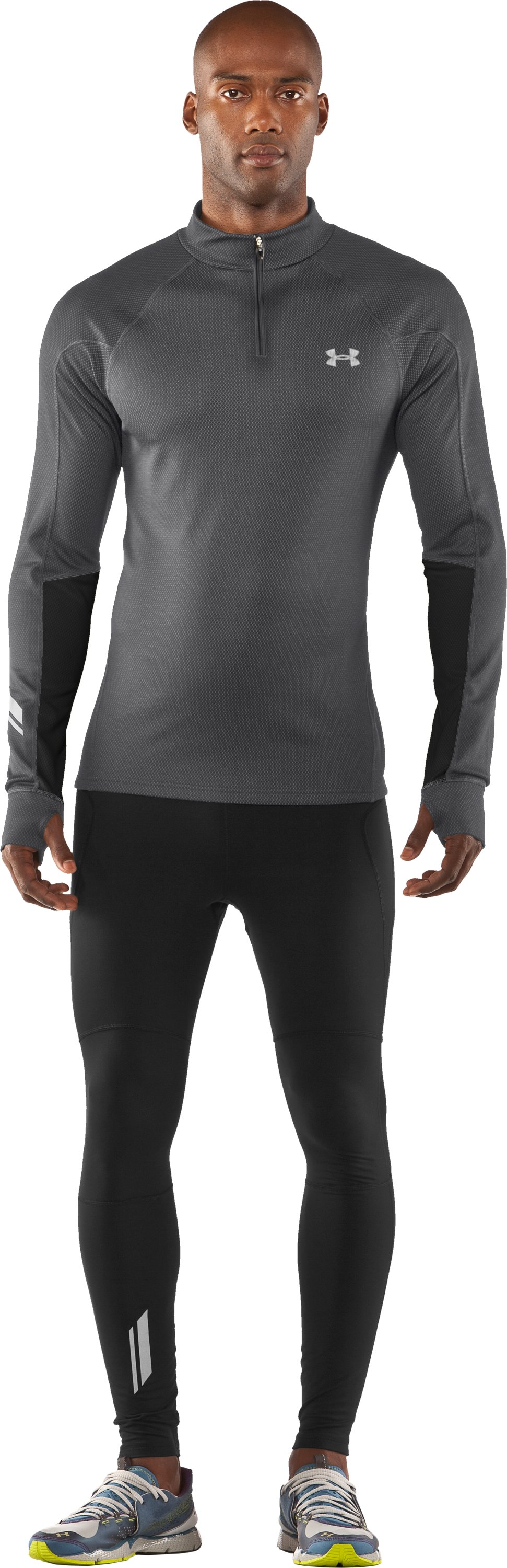 Men's ColdGear® Thermo Run ½ Zip, Graphite, zoomed image