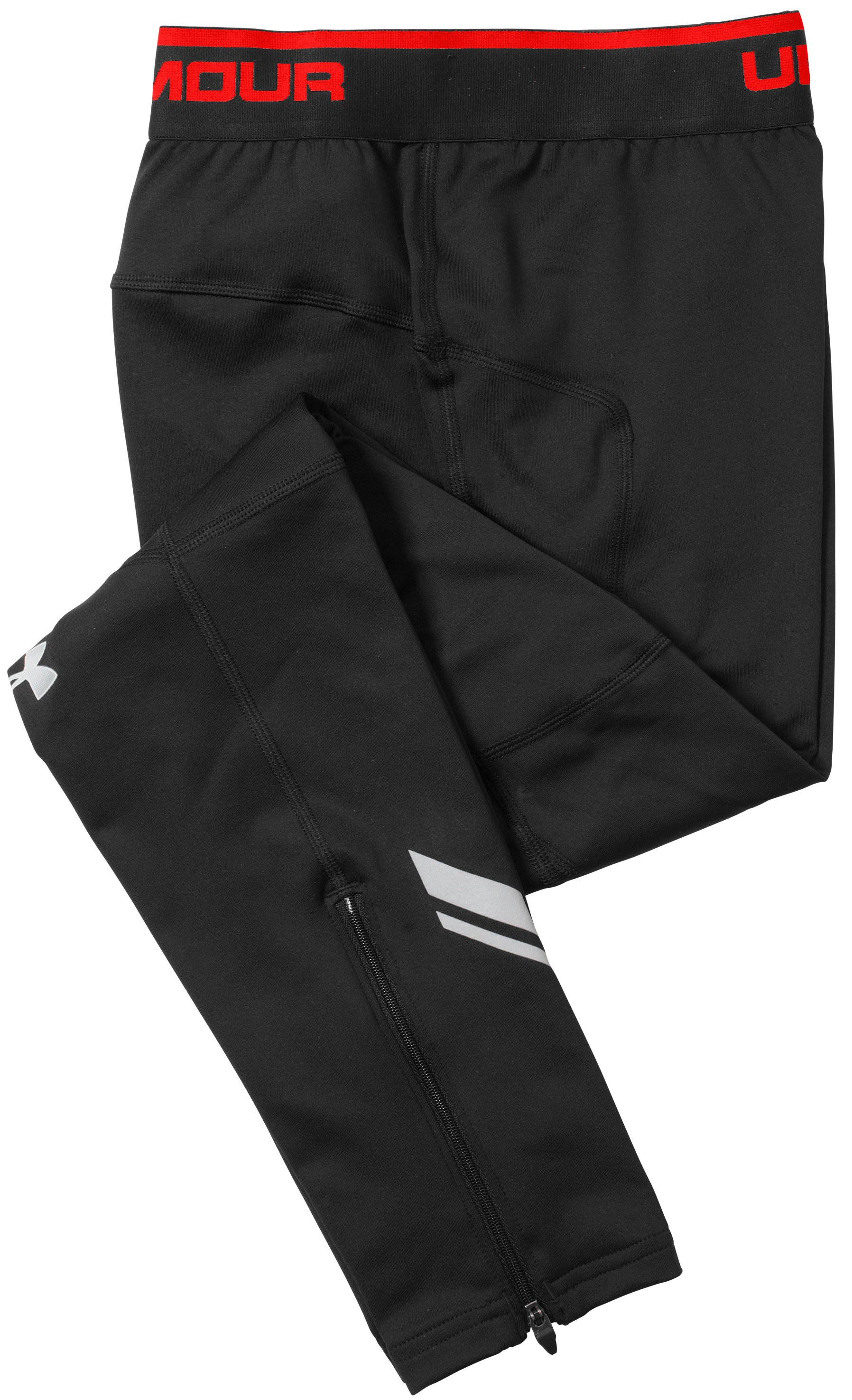 "Men's UA Run ColdGear® 25"" Tights, Black , Laydown"