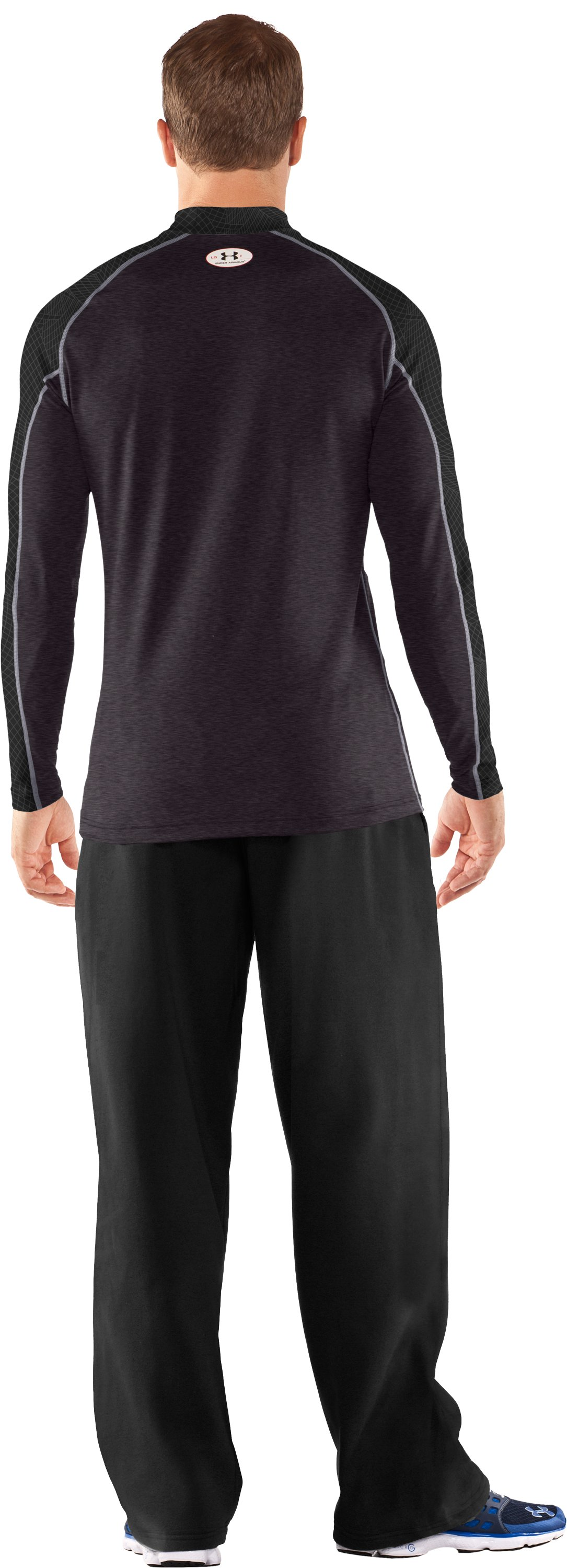 Men's UA Competition Fitted Baselayer Mock, Carbon Heather, Back