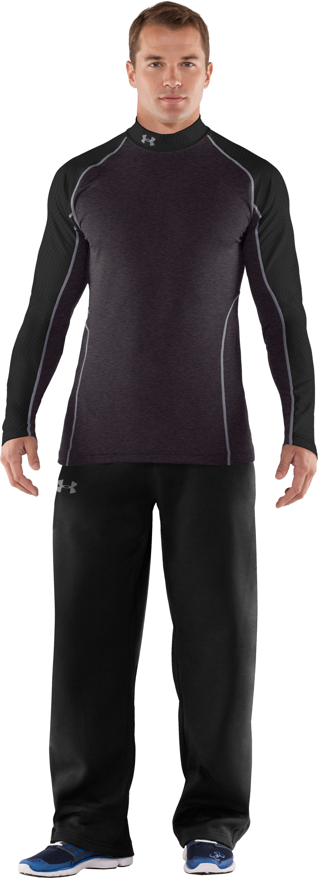 Men's UA Competition Fitted Baselayer Mock, Carbon Heather, zoomed image