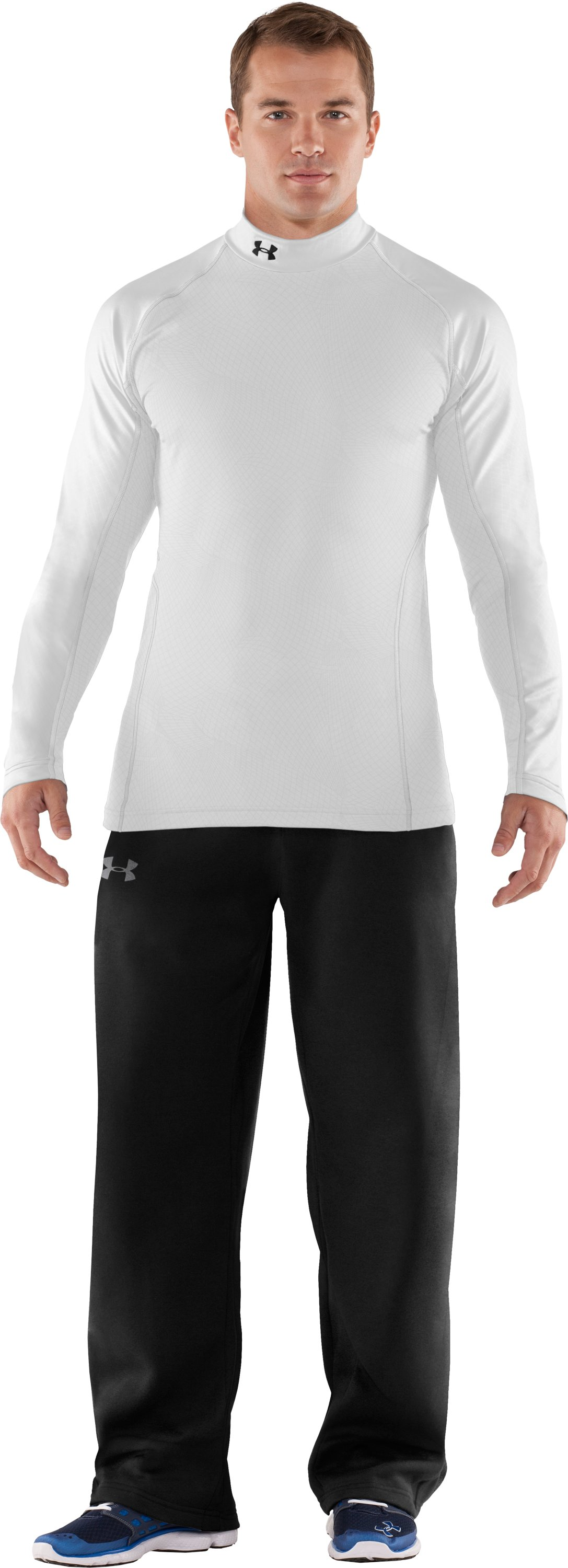 Men's UA Competition Fitted Baselayer Mock, White, Front