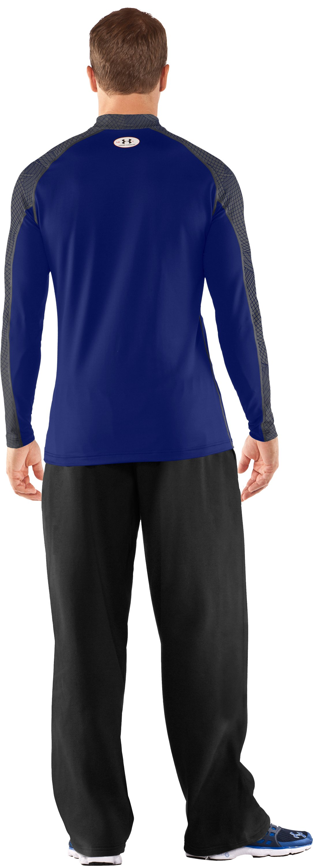 Men's UA Competition Fitted Baselayer Mock, Royal, Back