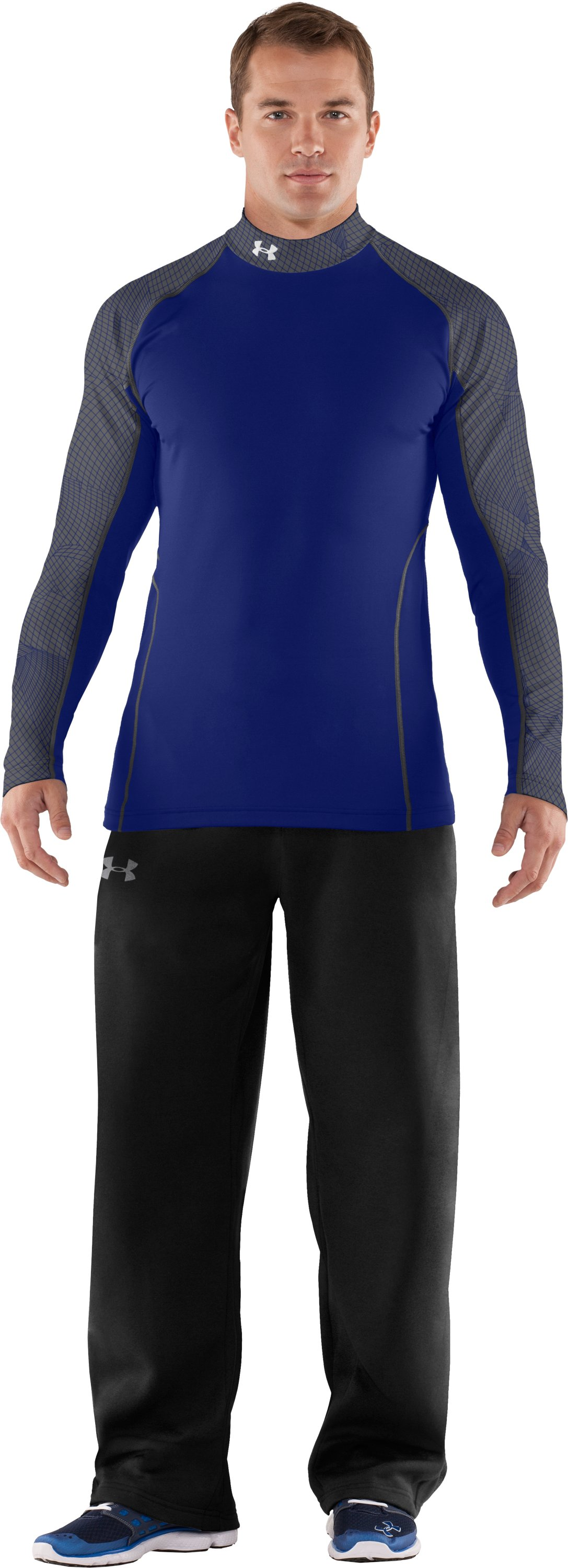 Men's UA Competition Fitted Baselayer Mock, Royal, Front