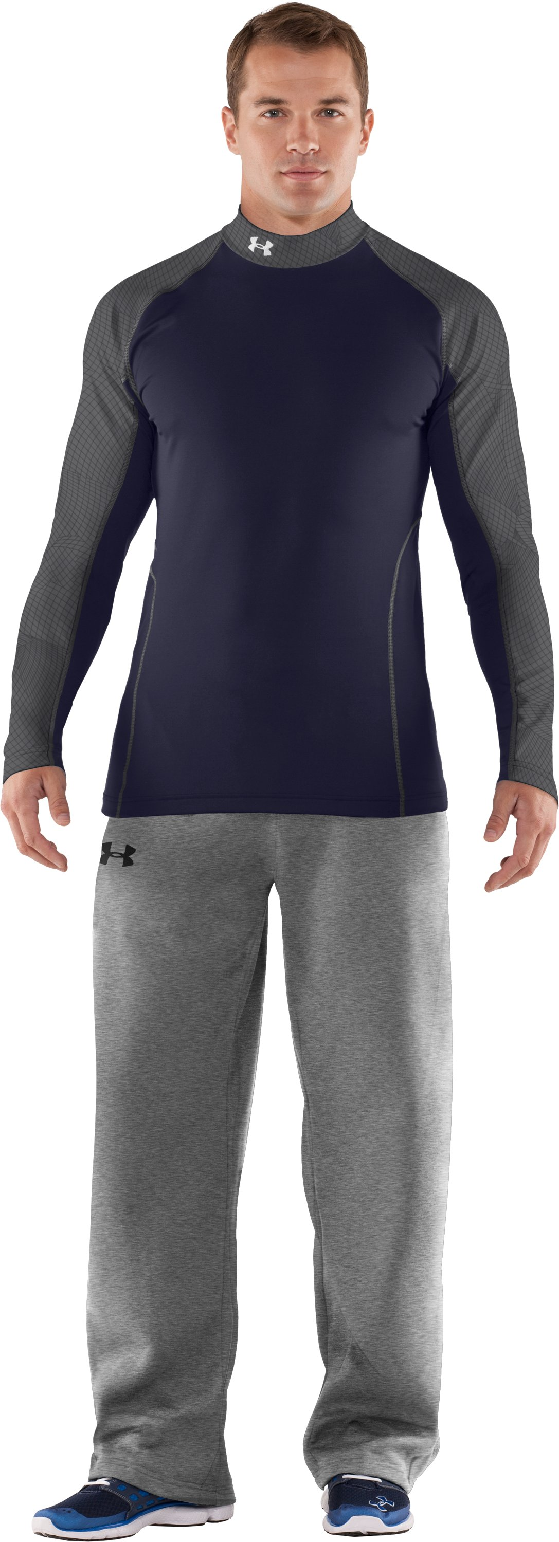 Men's UA Competition Fitted Baselayer Mock, Midnight Navy, Front