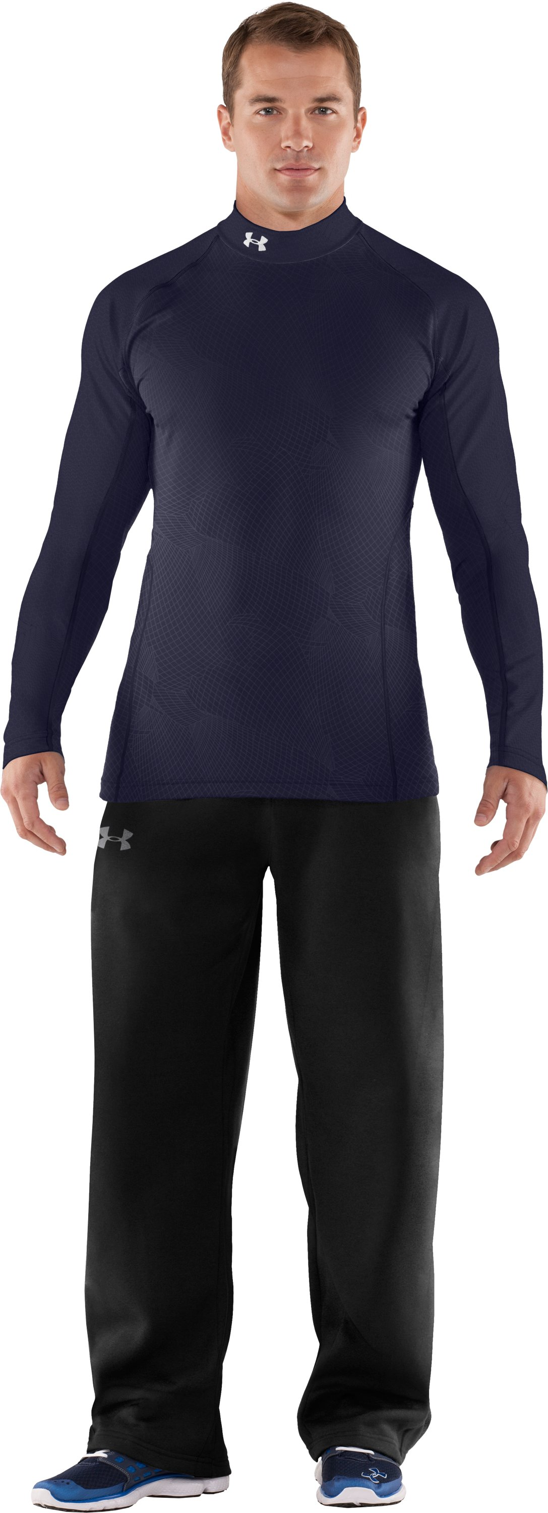 Men's UA Competition Fitted Baselayer Mock, Midnight Navy, zoomed image