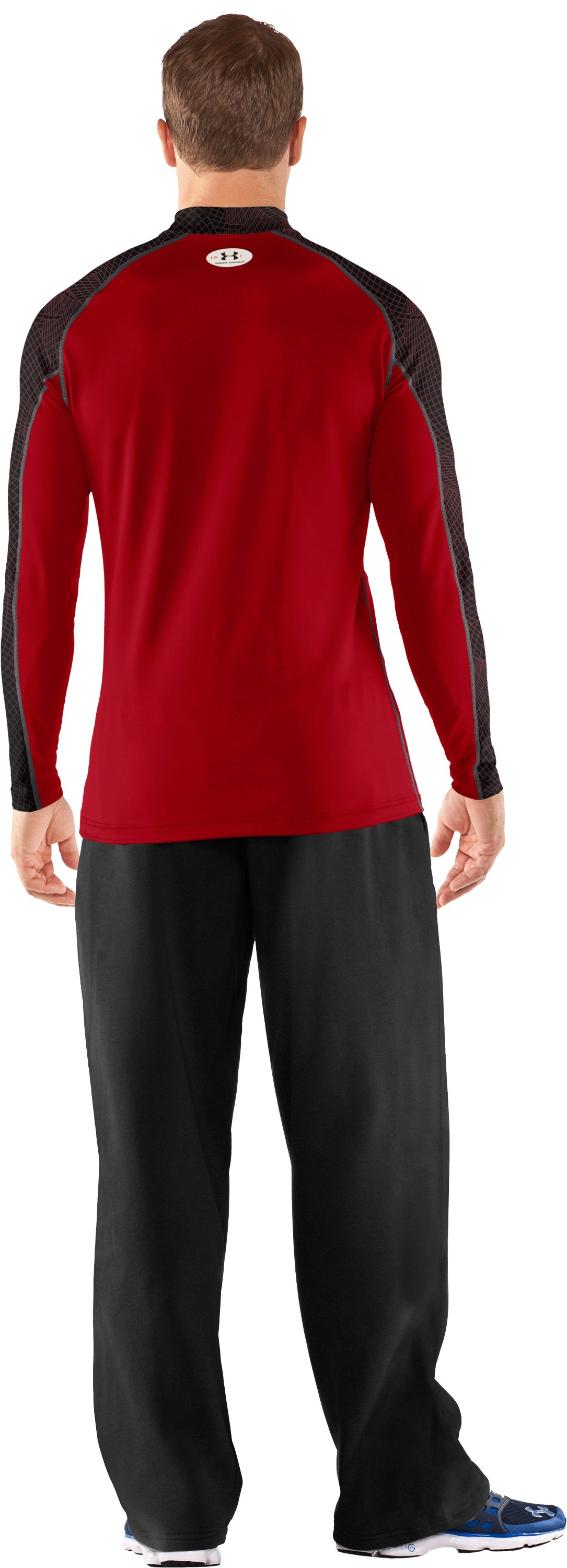 Men's UA Competition Fitted Baselayer Mock, Red, Back