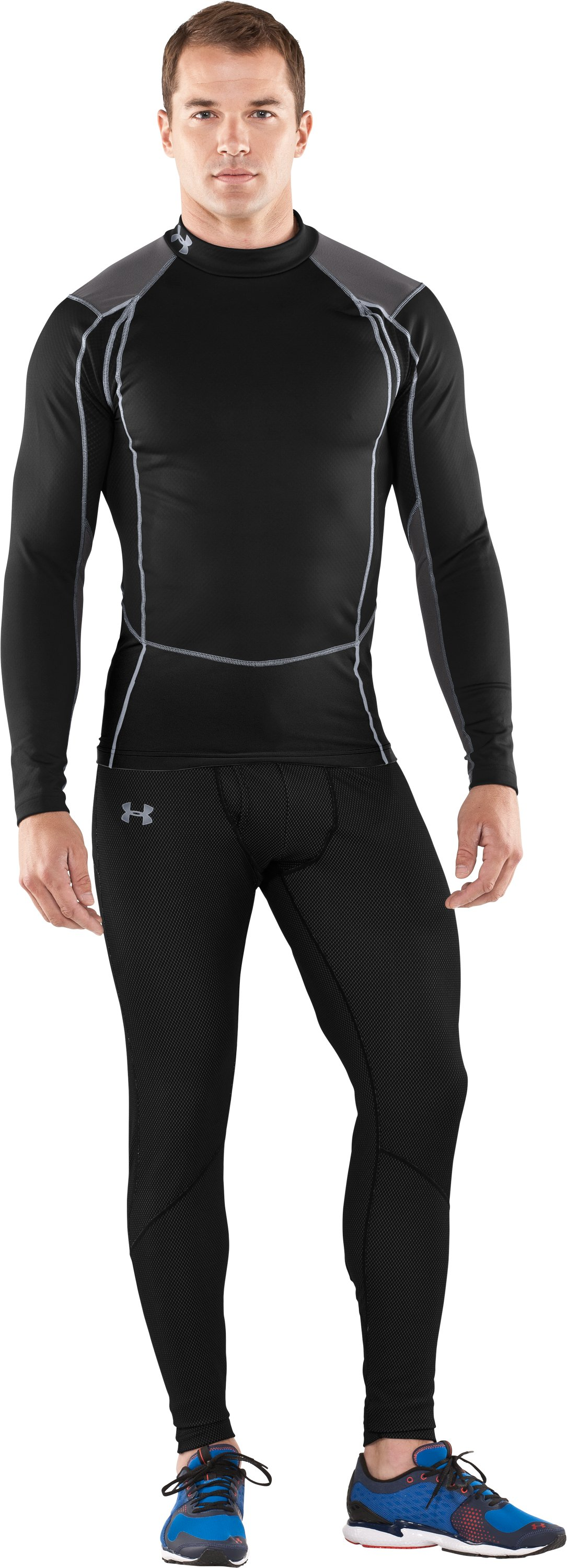 Men's ColdGear® Thermo Wind Block Long Sleeve, Black , Front