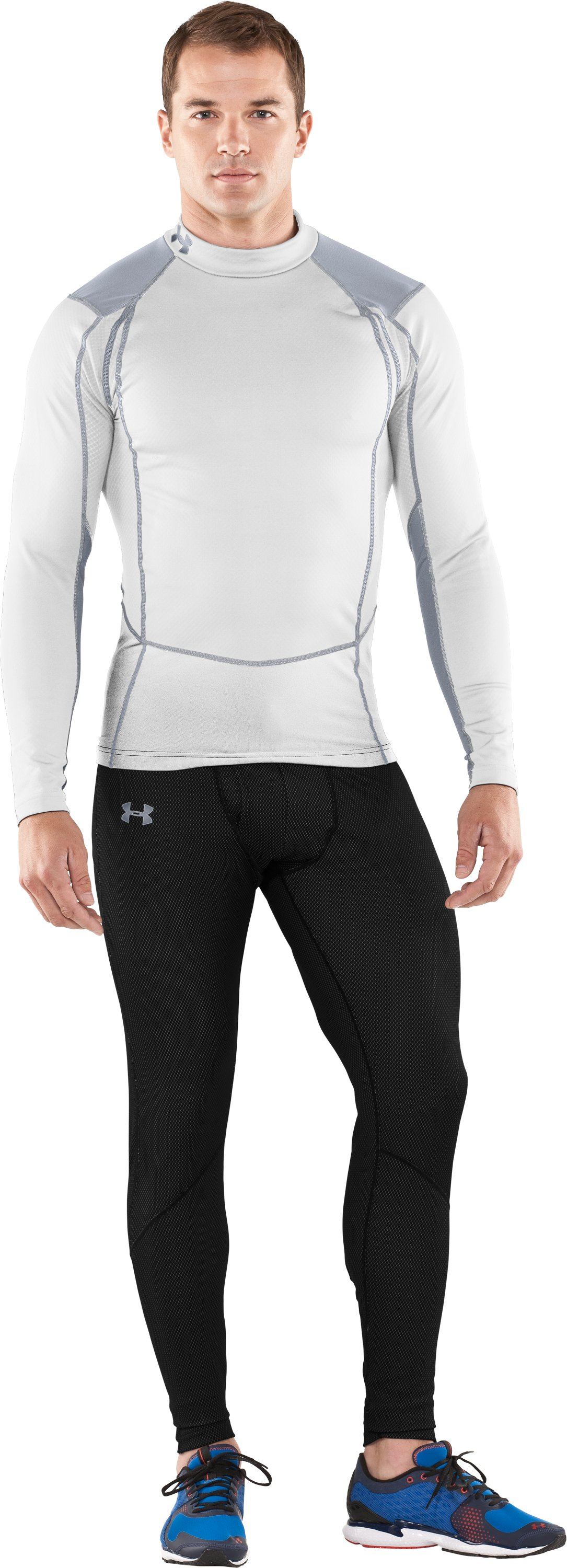 Men's ColdGear® Thermo Wind Block Long Sleeve, White, Front