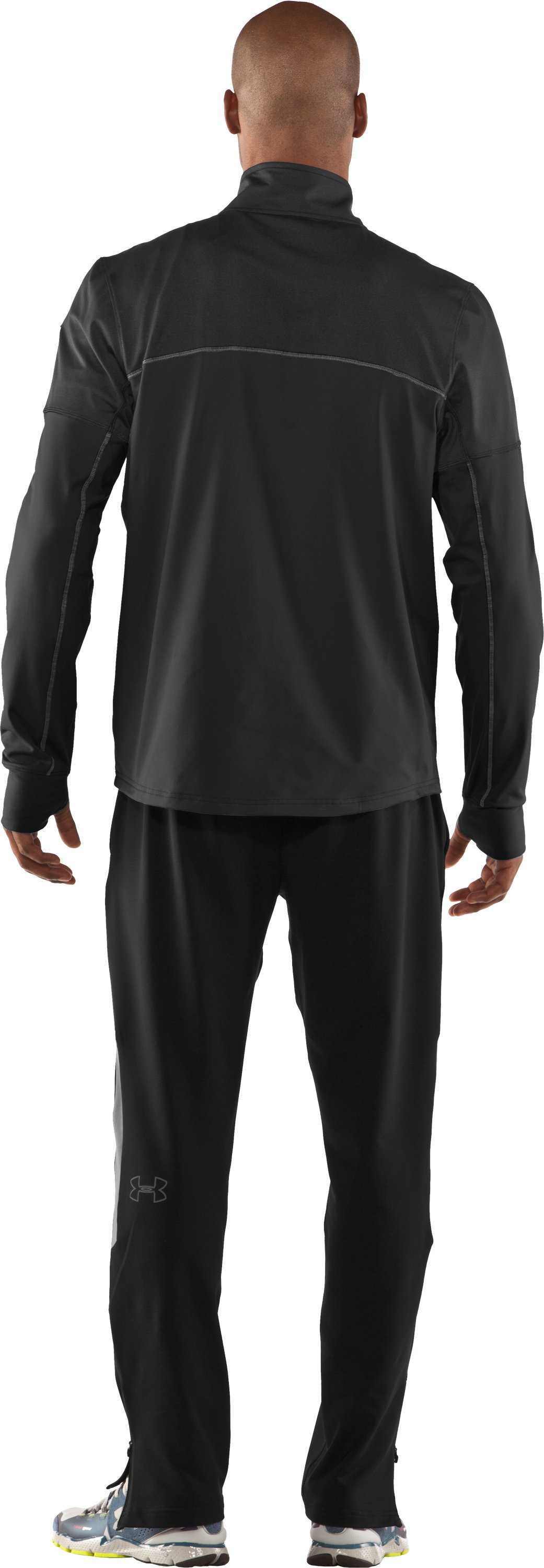 Men's UA Run Storm ¼ Zip Jacket, Black , Back