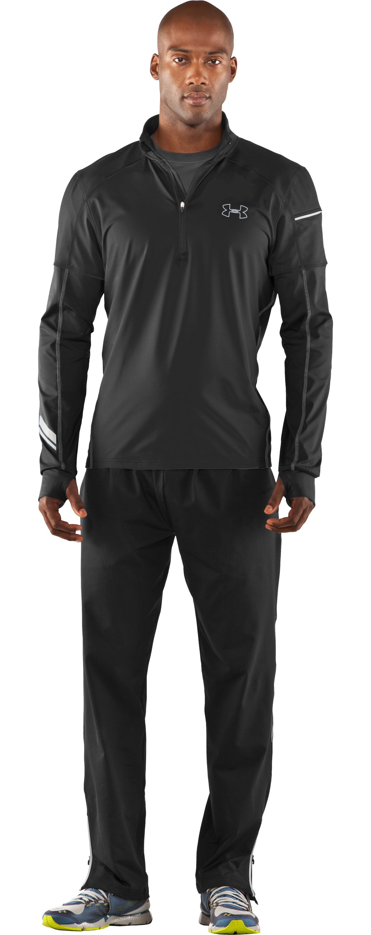 Men's UA Run Storm ¼ Zip Jacket, Black , Front