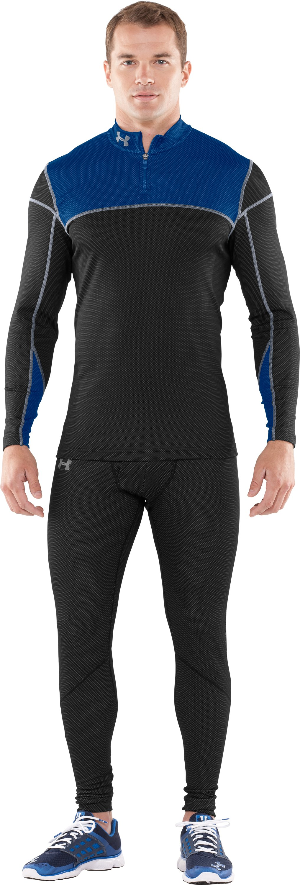 Men's ColdGear® Thermo ¼ Zip, Black , zoomed image