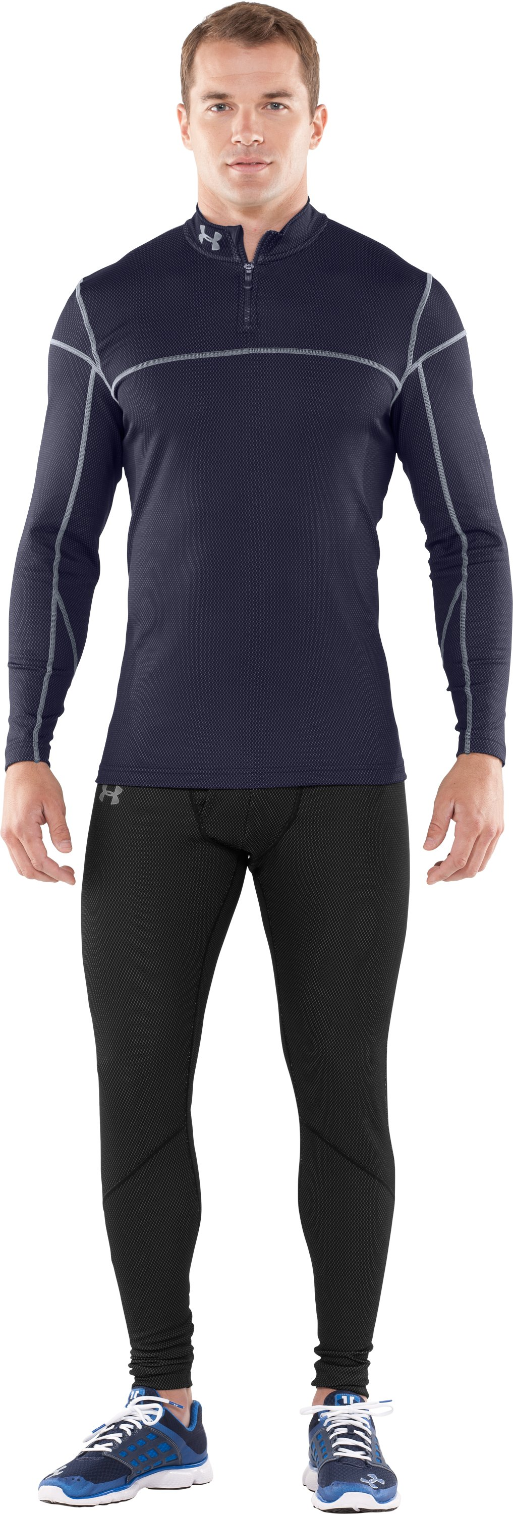 Men's ColdGear® Thermo ¼ Zip, Midnight Navy, Front