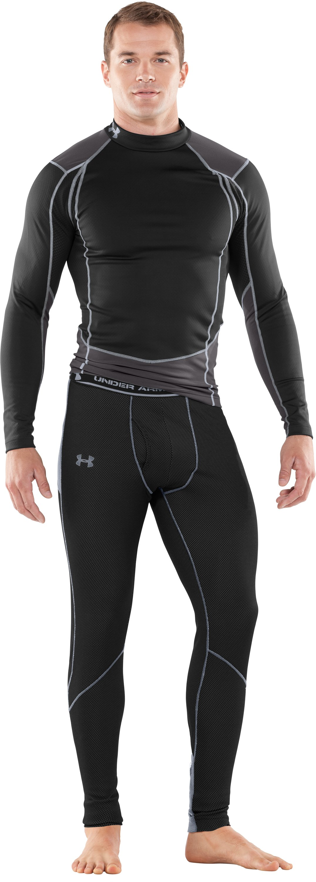 Men's ColdGear® Thermo Baselayer Leggings, Black , Front