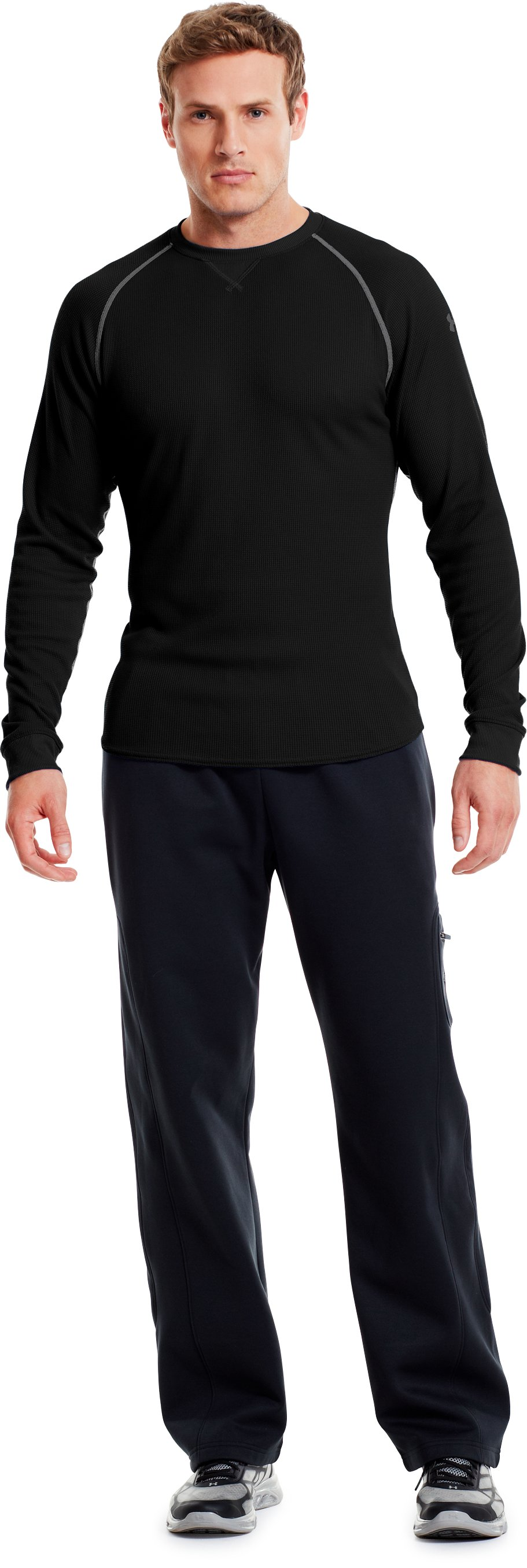 Men's UA Thermal 2.0 Crew Shirt, Black , Front