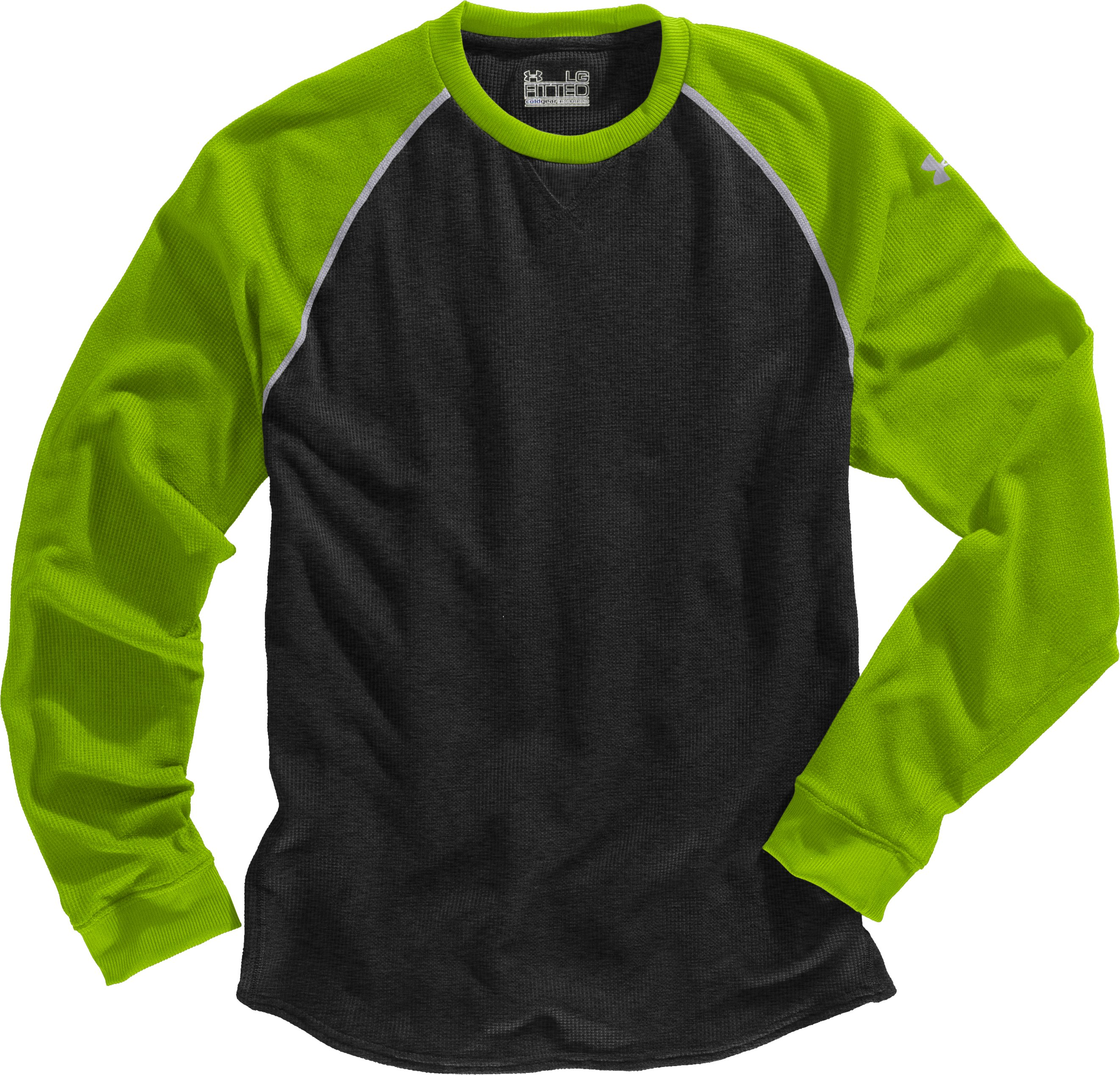 Men's UA Thermal 2.0 Crew Shirt, Black , Laydown