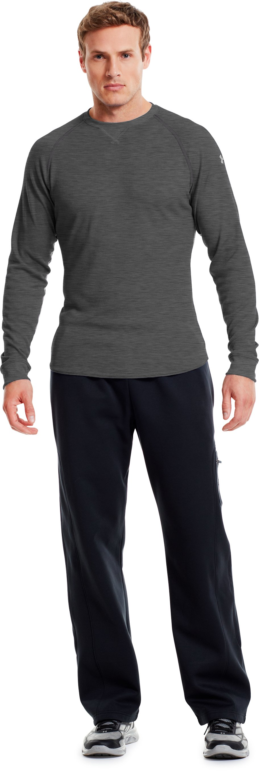 Men's UA Thermal 2.0 Crew Shirt, Carbon Heather, Front