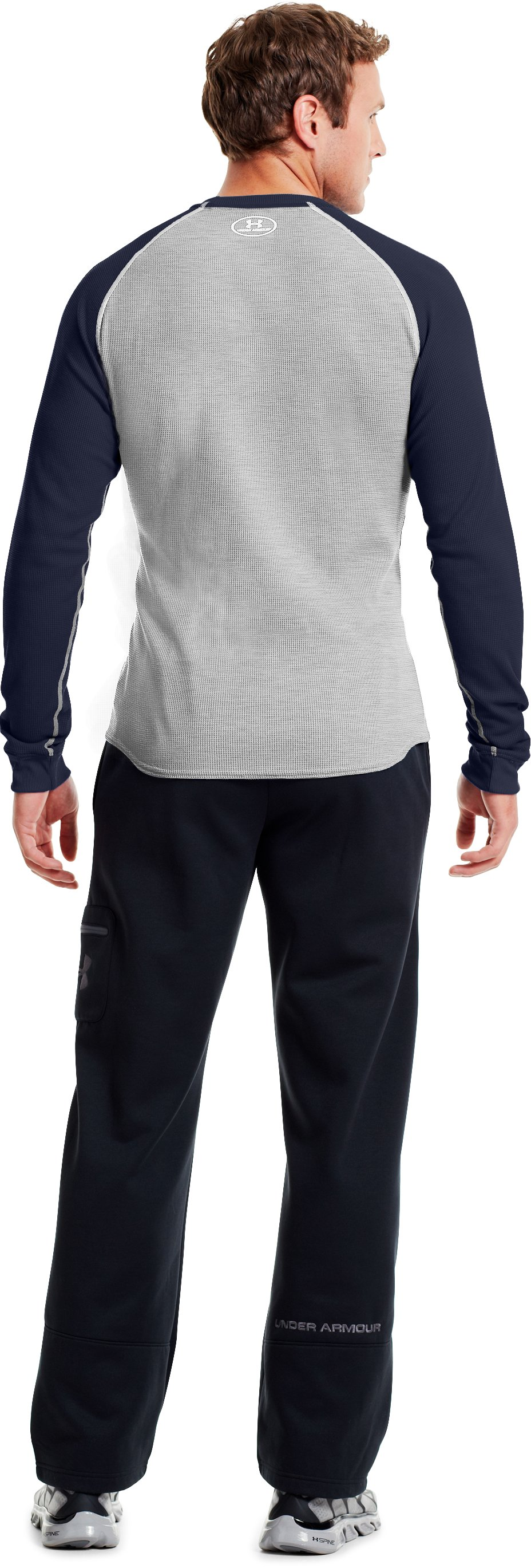 Men's UA Thermal 2.0 Crew Shirt, Silver Heather, Back