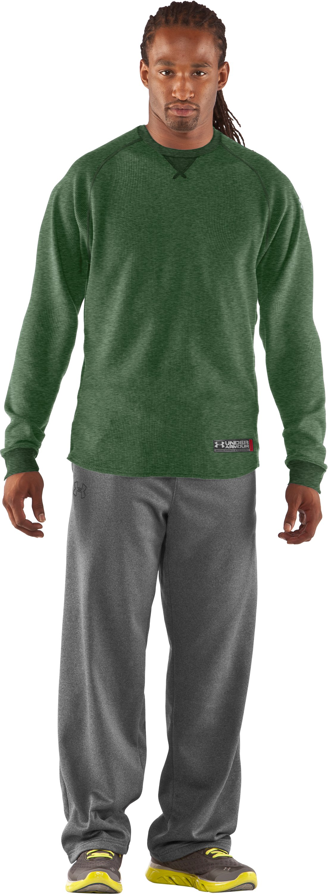Men's UA Thermal 2.0 Crew Shirt, Forest Green, Front