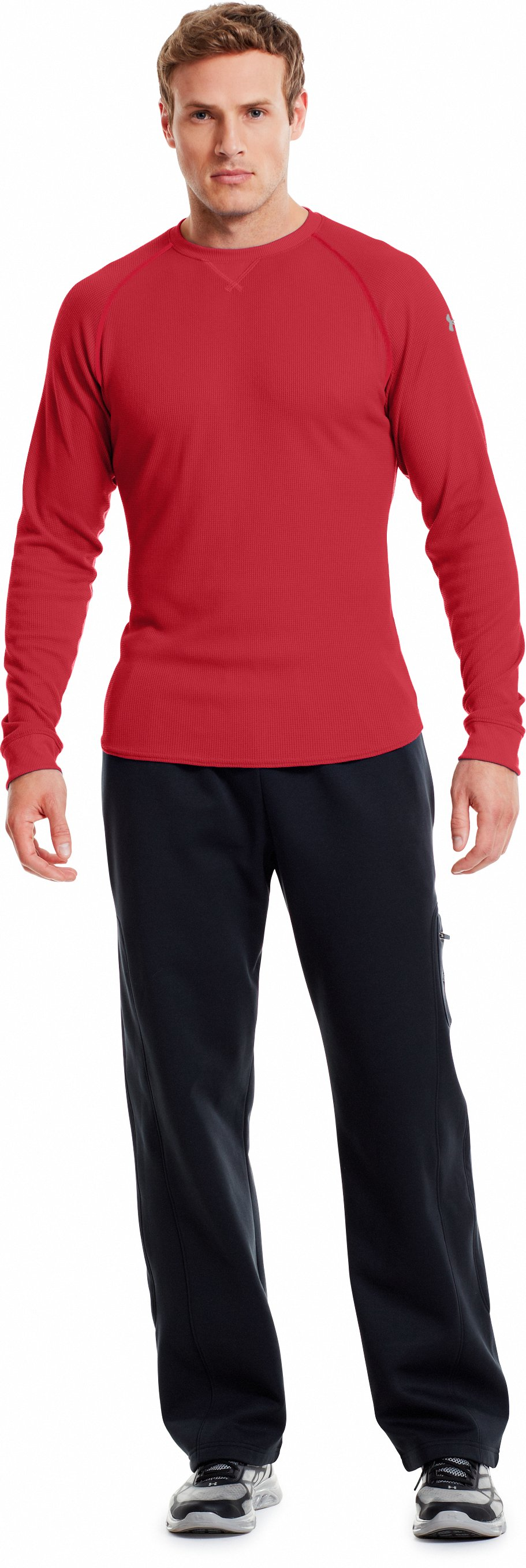 Men's UA Thermal 2.0 Crew Shirt, Red, Front