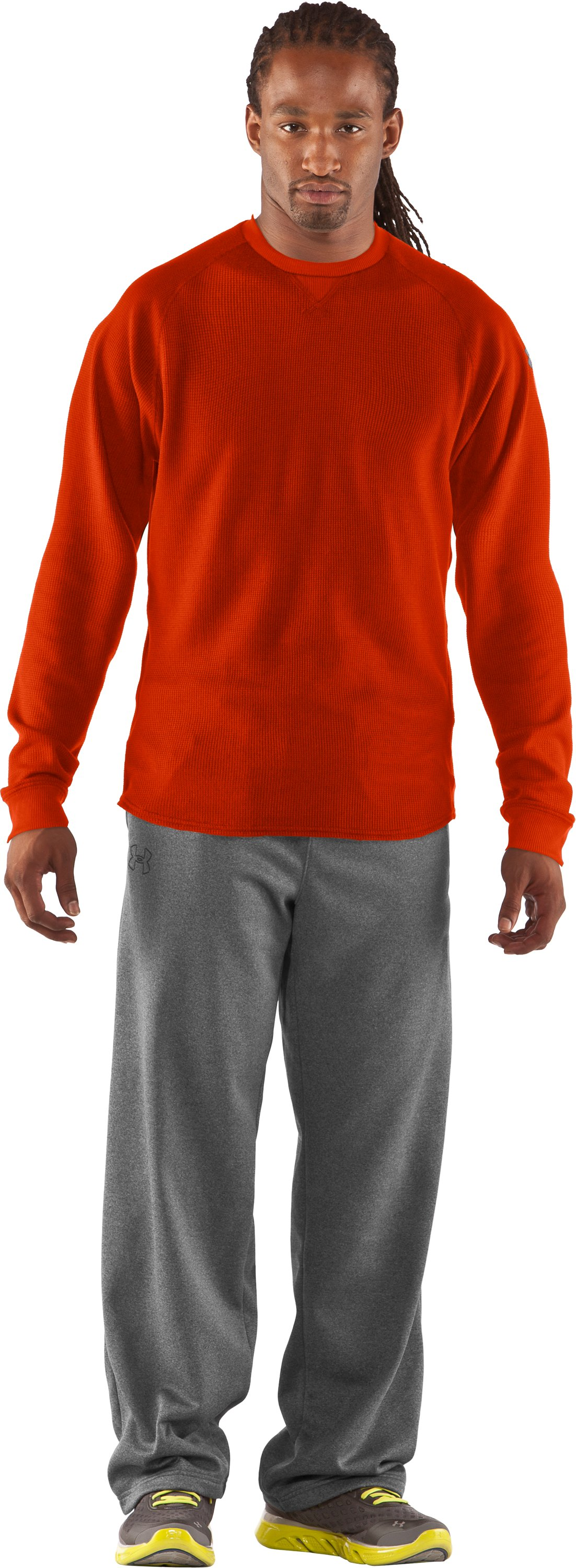 Men's UA Thermal 2.0 Crew Shirt, Dark Orange, zoomed image