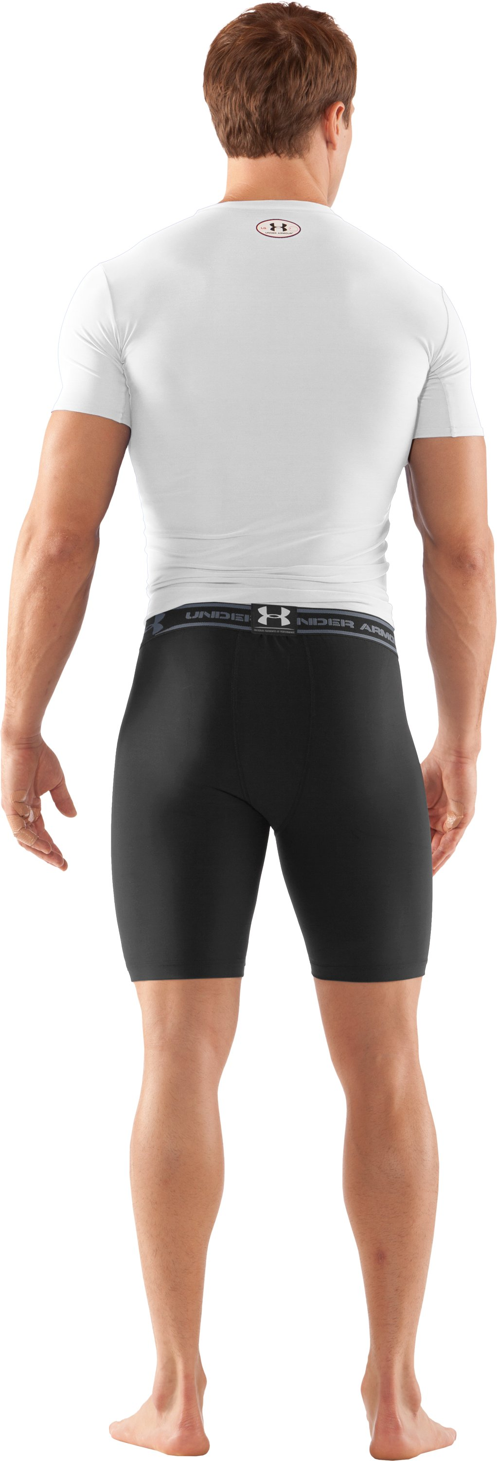 "Men's HeatGear® Compression 7"" Shorts, Black , Back"