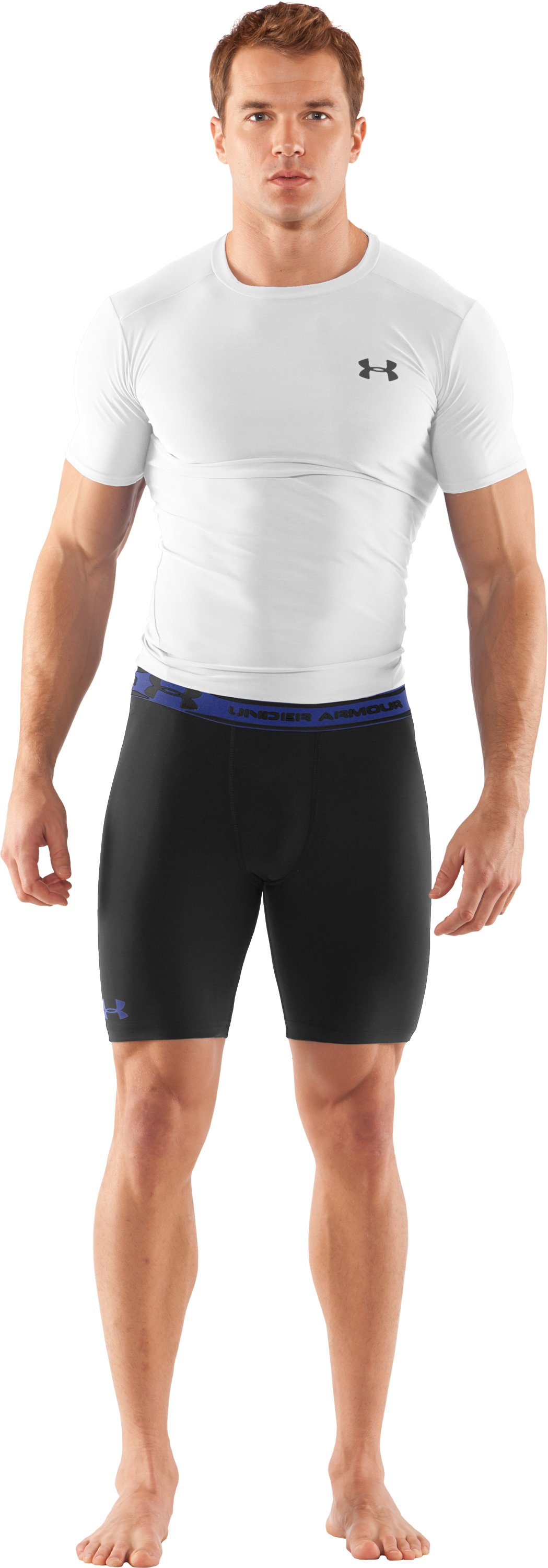 "Men's HeatGear® Compression 7"" Shorts, Black , Front"