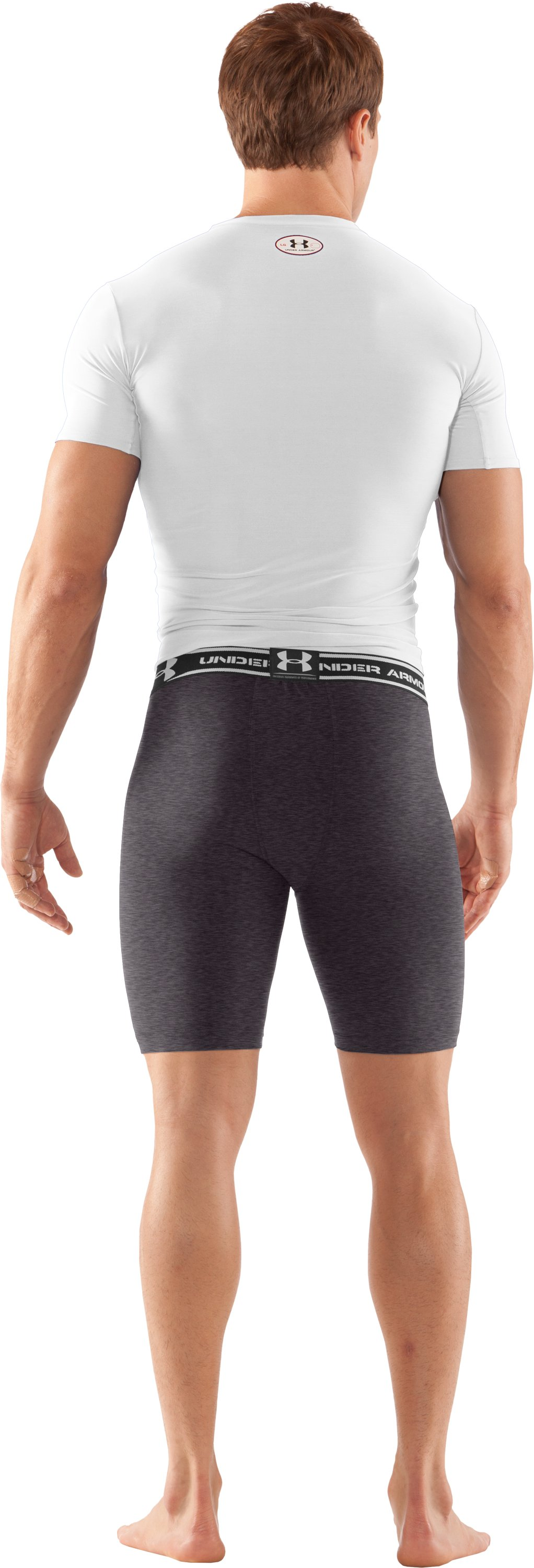 "Men's HeatGear® Compression 7"" Shorts, Carbon Heather, Back"