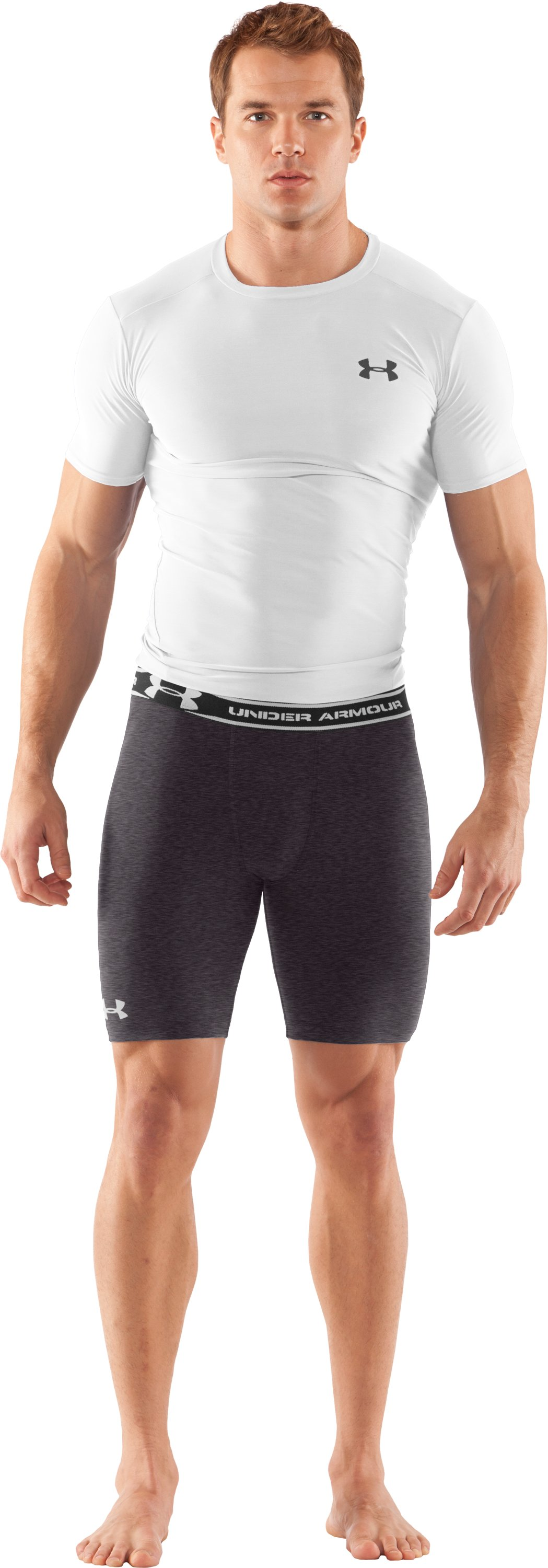 "Men's HeatGear® Compression 7"" Shorts, Carbon Heather, Front"